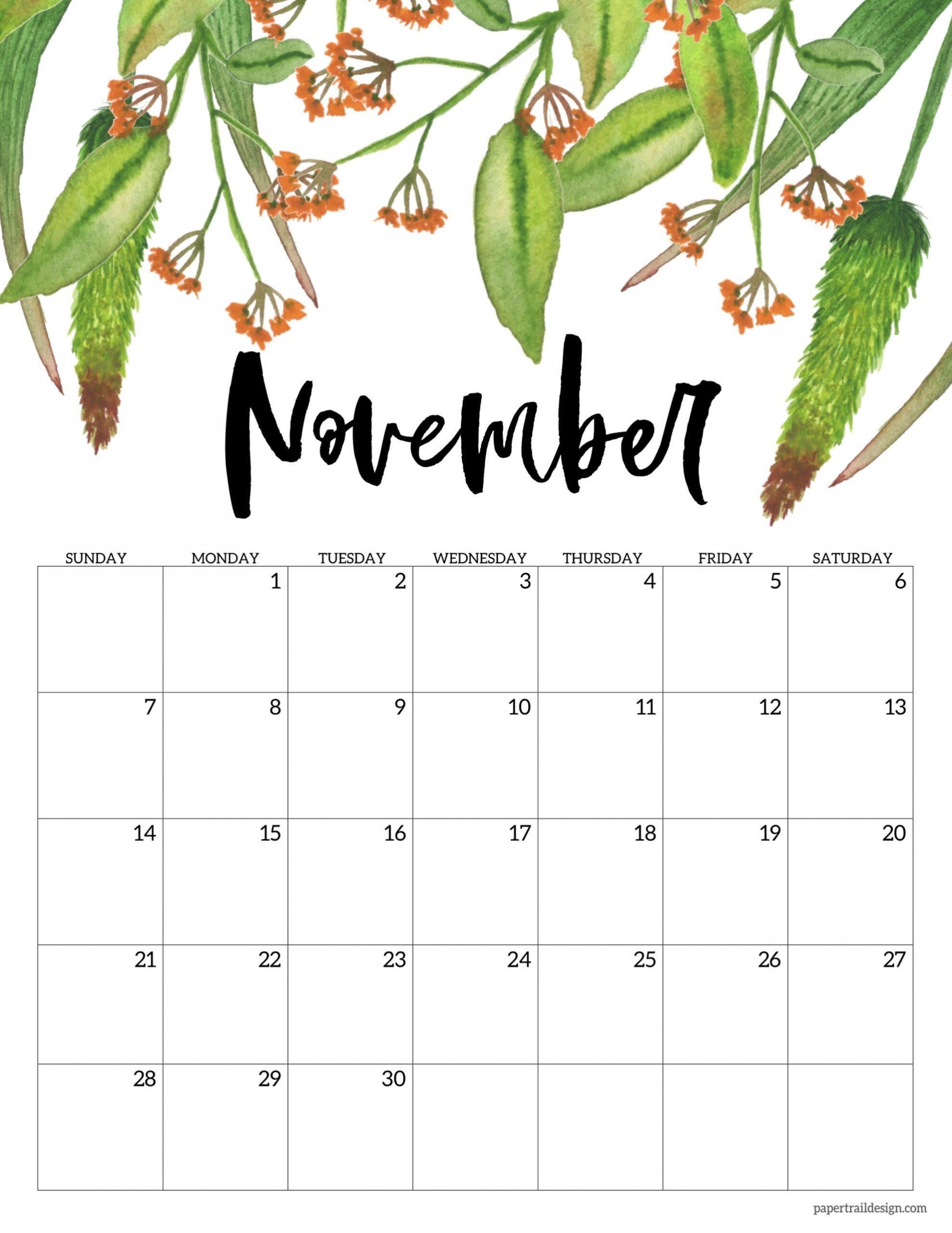 Pick 2021 November Calendar Printable Free