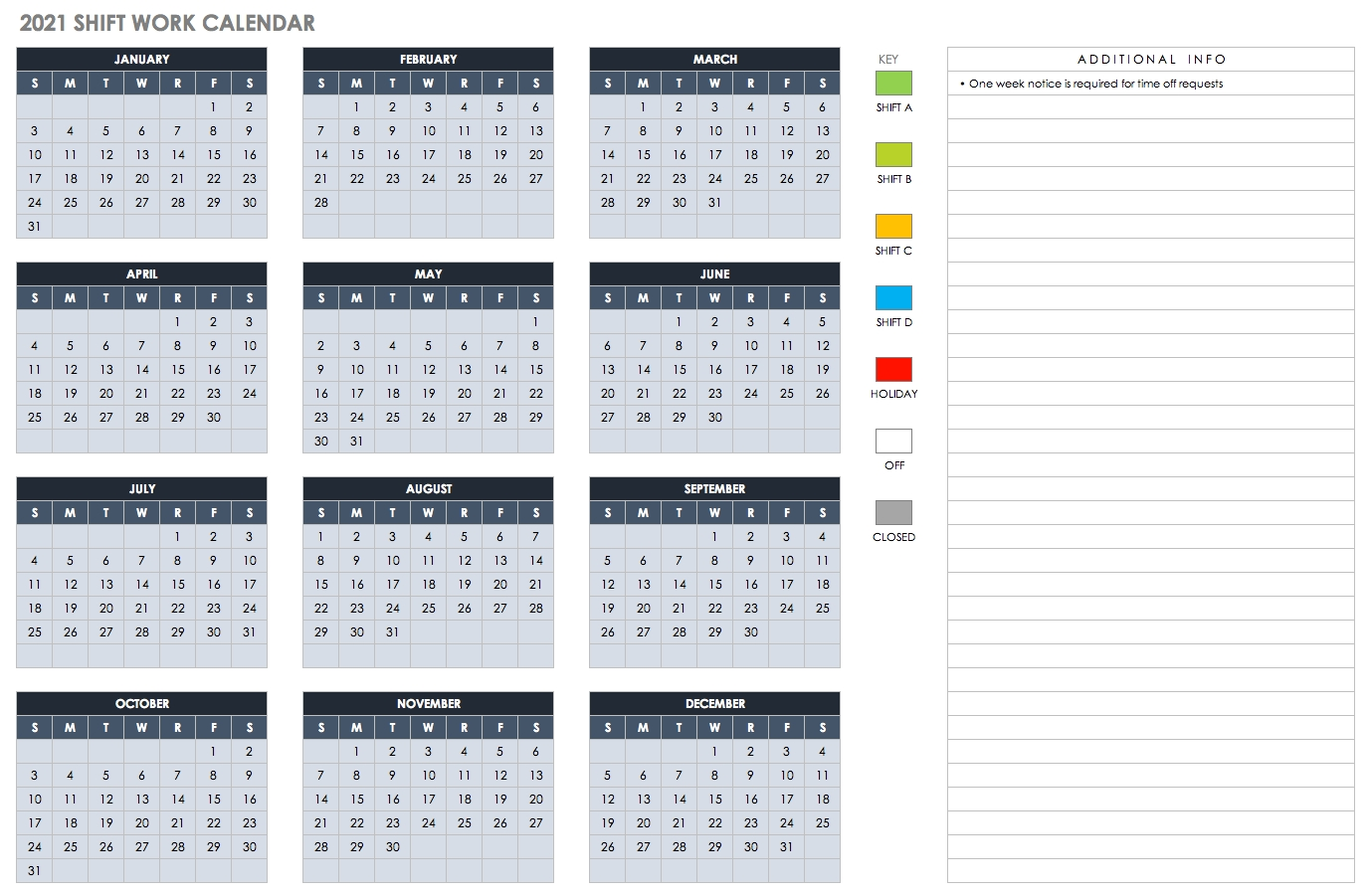 Pick 2021 Pitman Work Calendar