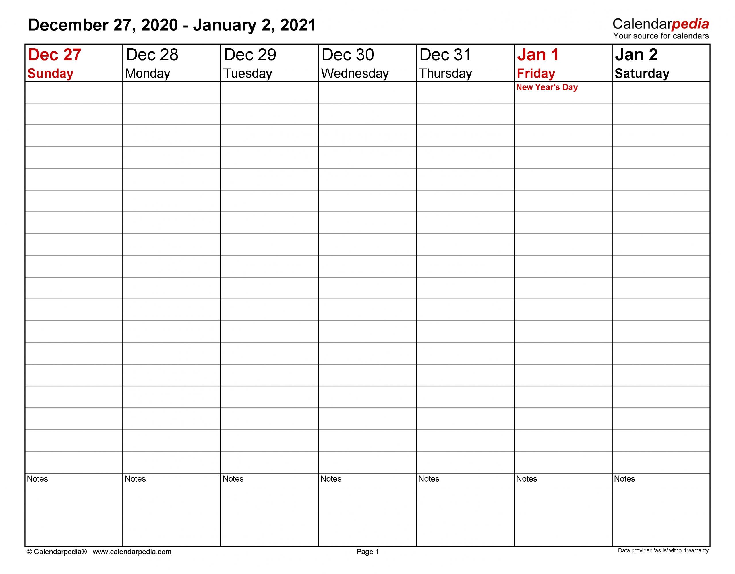 Pick 2021 Work Week Calendar Printable