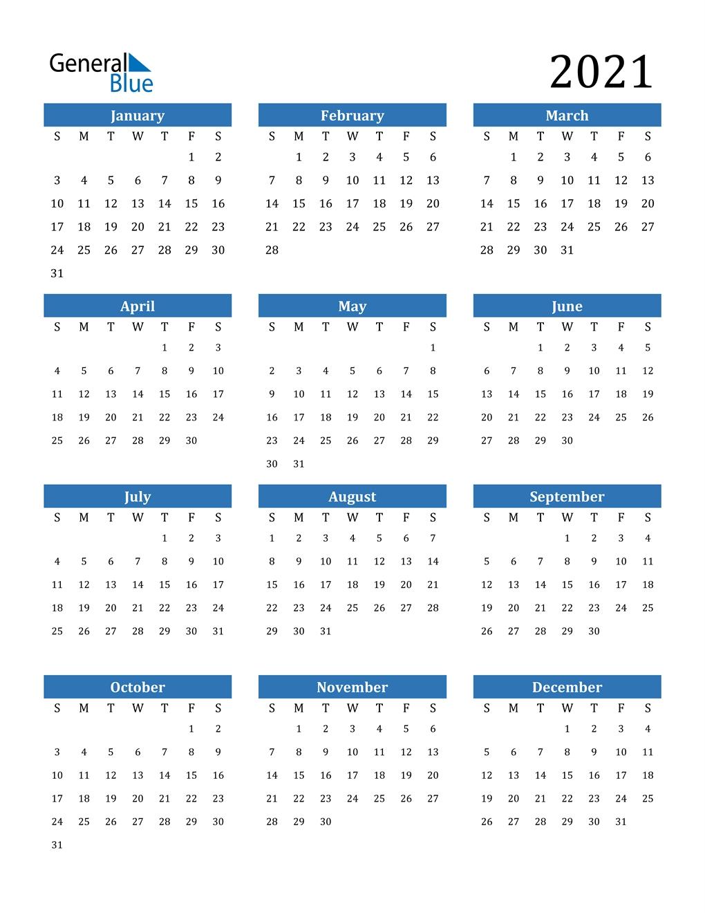 Pick 2021 Yearly Calendar Free Pdf Printable