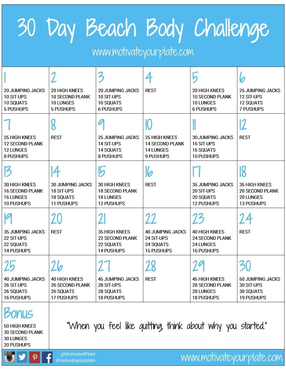 Pick 30 Day Fitness Challenges Printable Charts