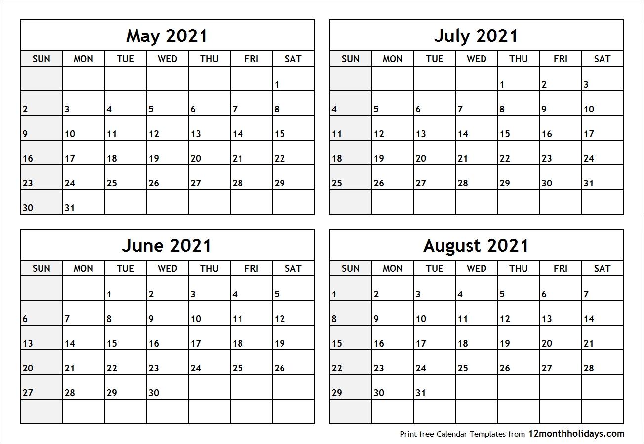 Pick 4 Month Printable Calendar 2021