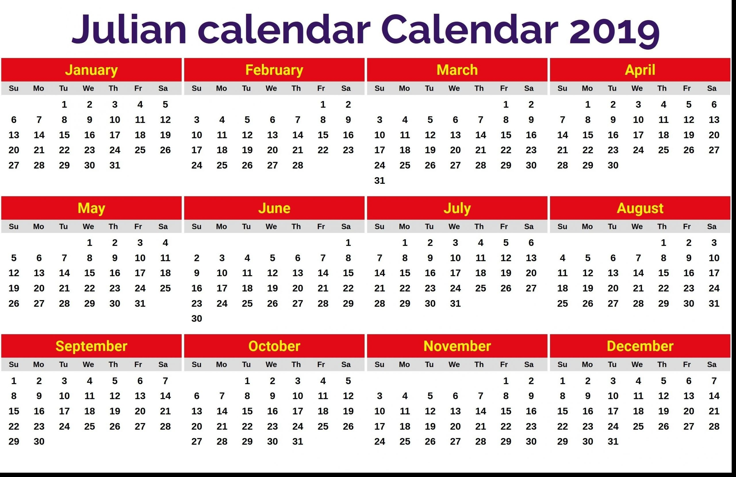 Pick Annual Calendar By Month With Julian Dates