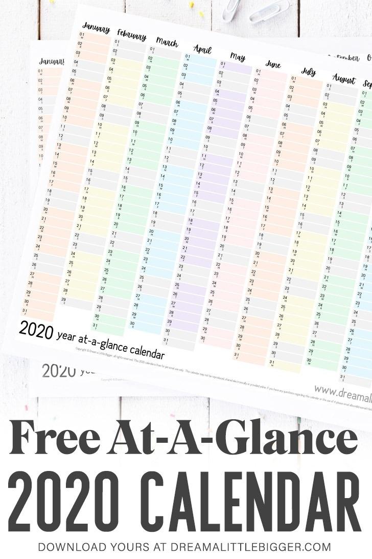 Pick At A Glance Printable Calendar