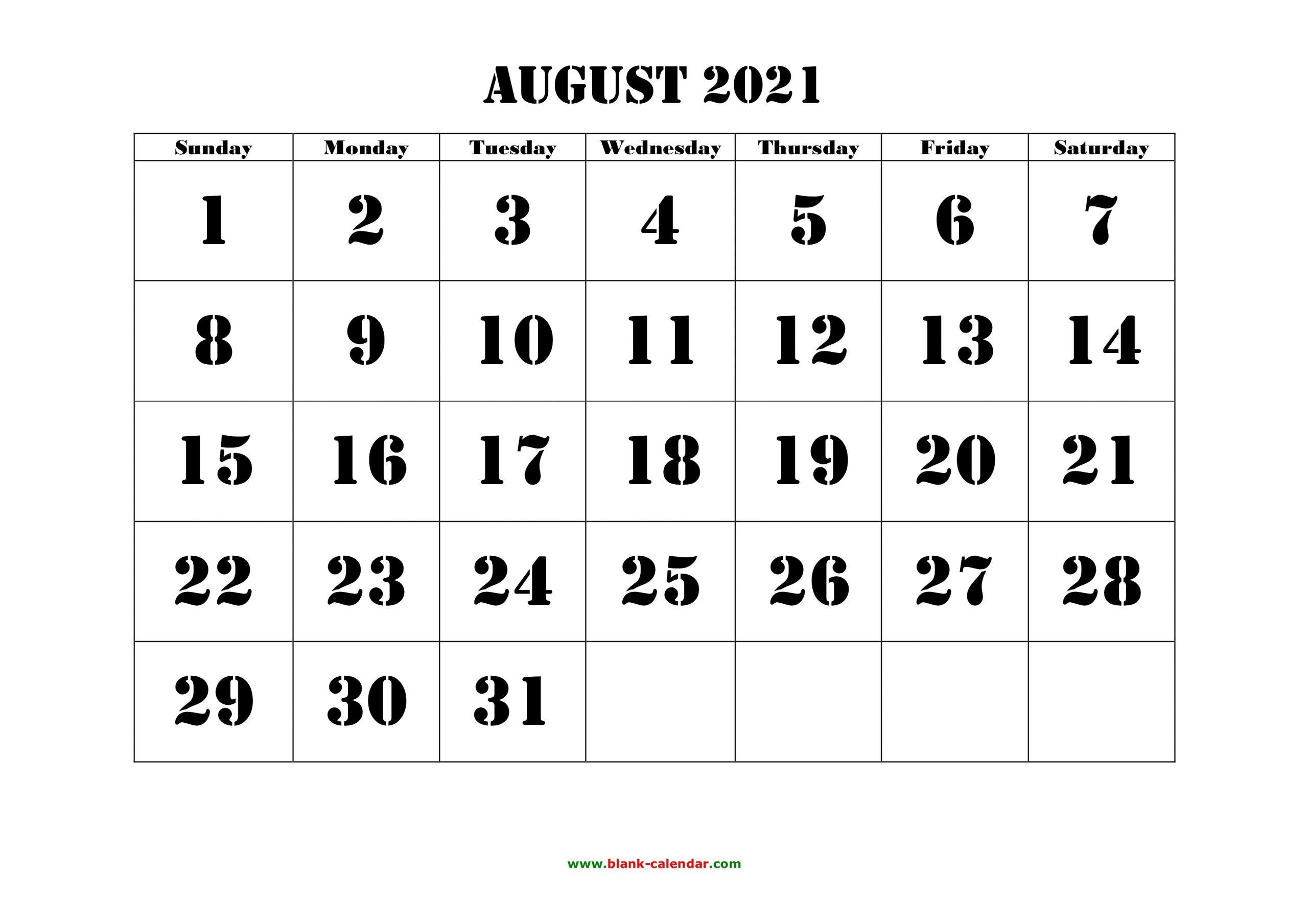 Pick August 2021 Calendar Fill In