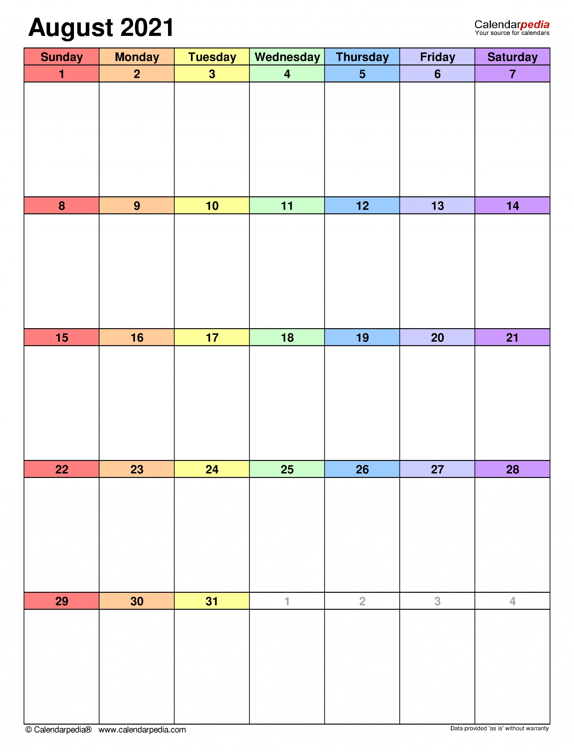 Pick August 2021 Calendar With Writing Space