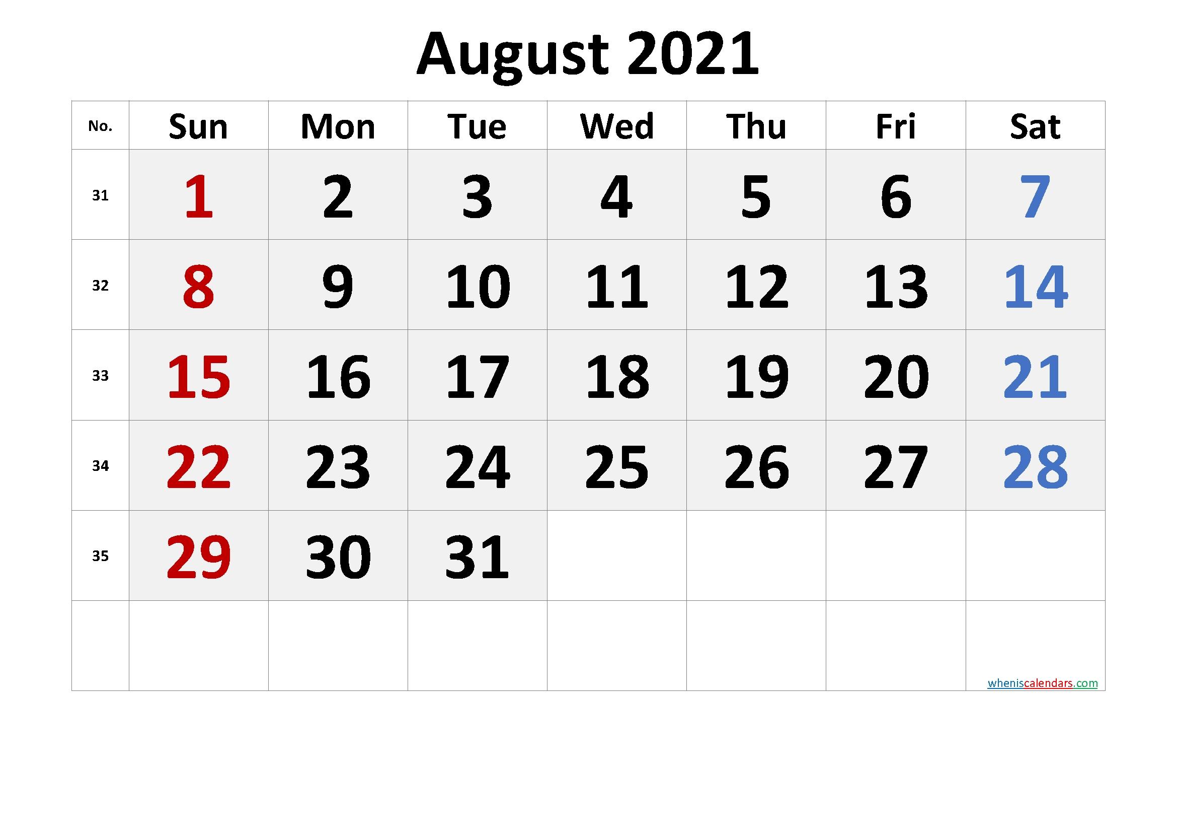 Pick August 2021 Printable Calendar Colorful