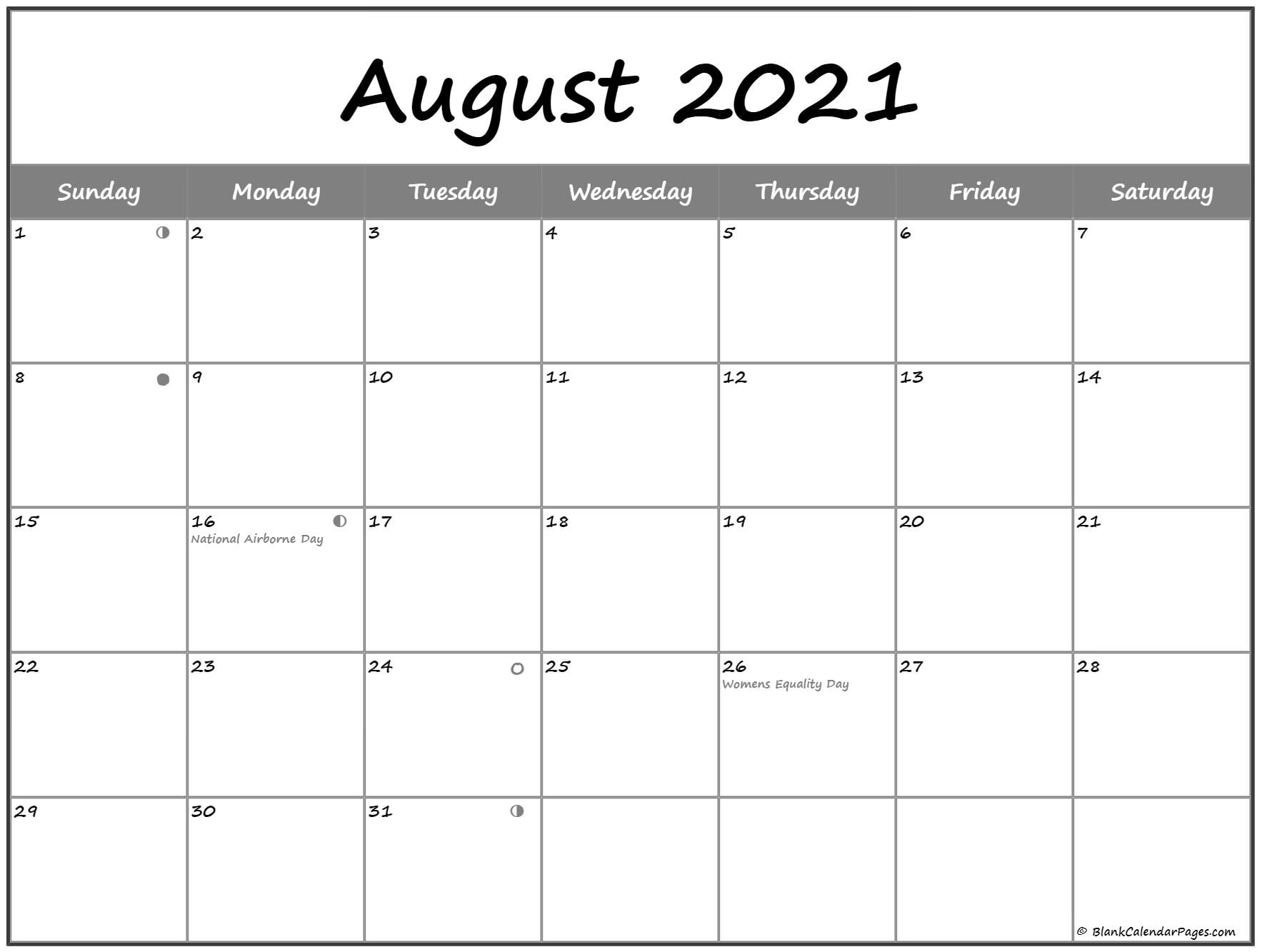 Pick August Calendar 2021 With Moon Cycle