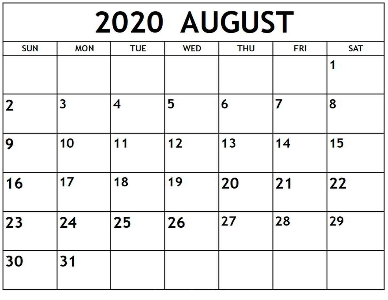 Pick August Calendar Print Out