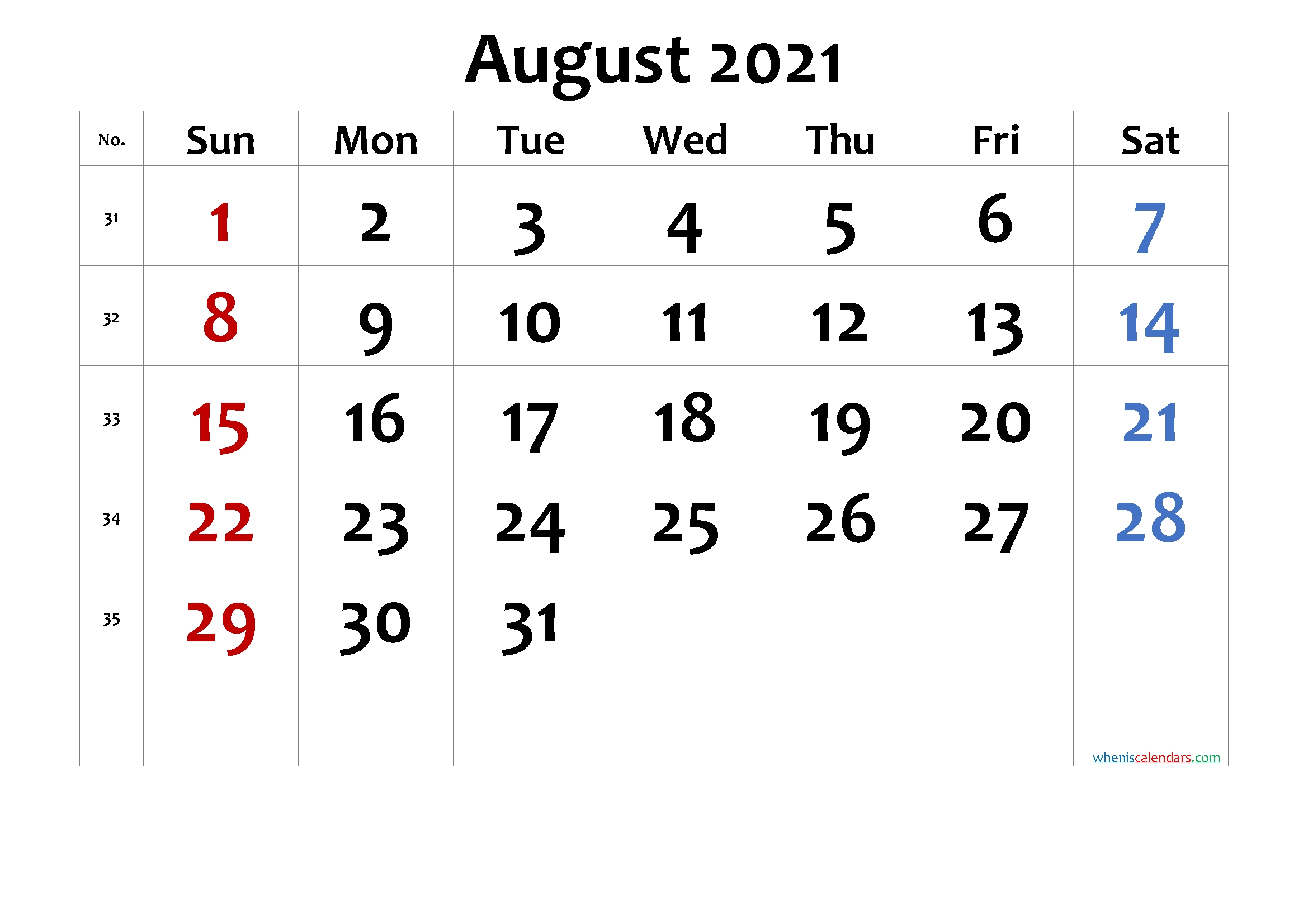 Pick August Calendar To Type On 2021