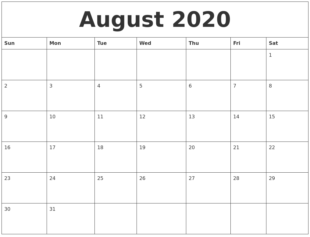Pick August Monthly Calendar Monday To Friday