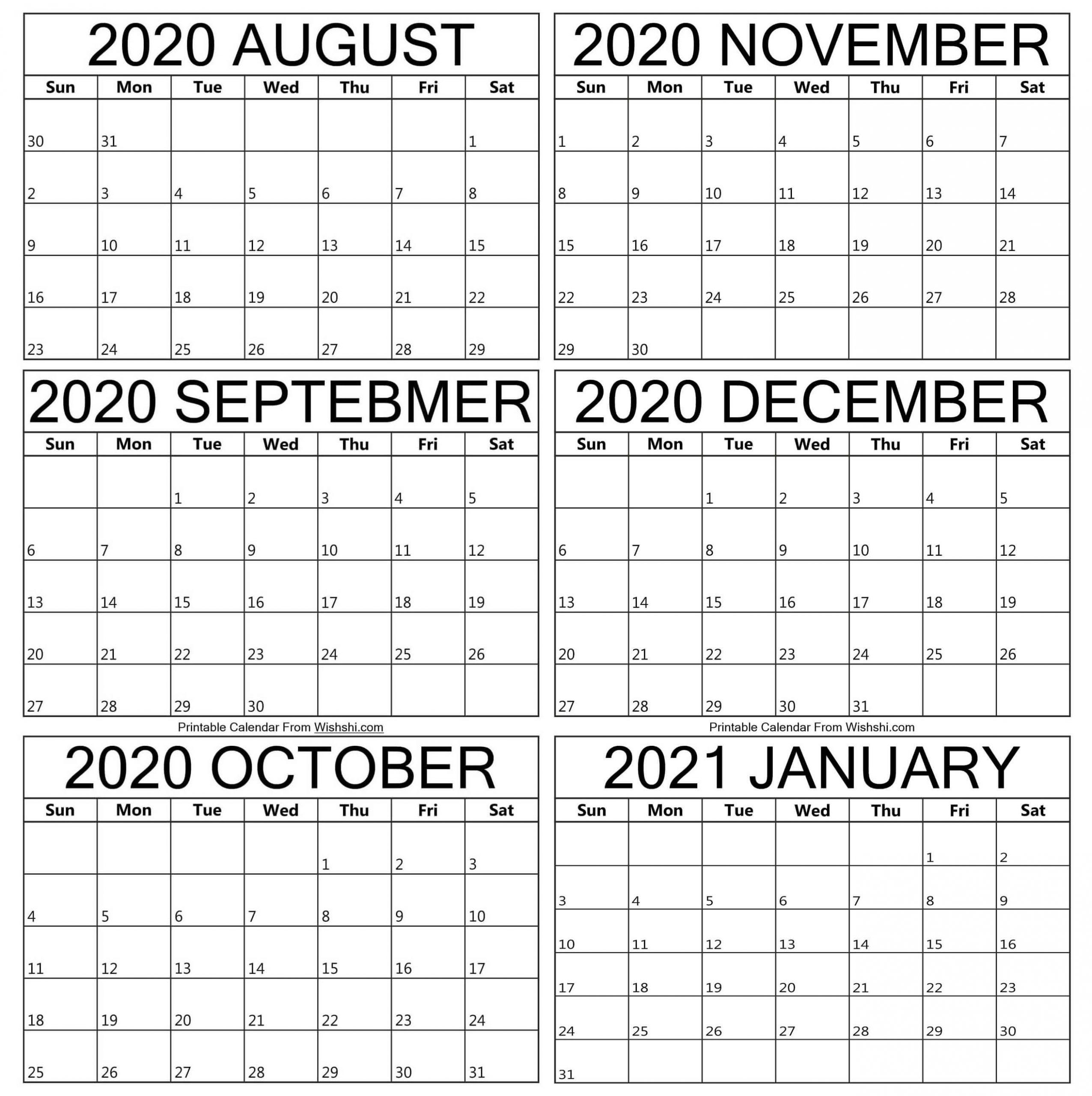 Pick August Through December 2021 Calendar Printable