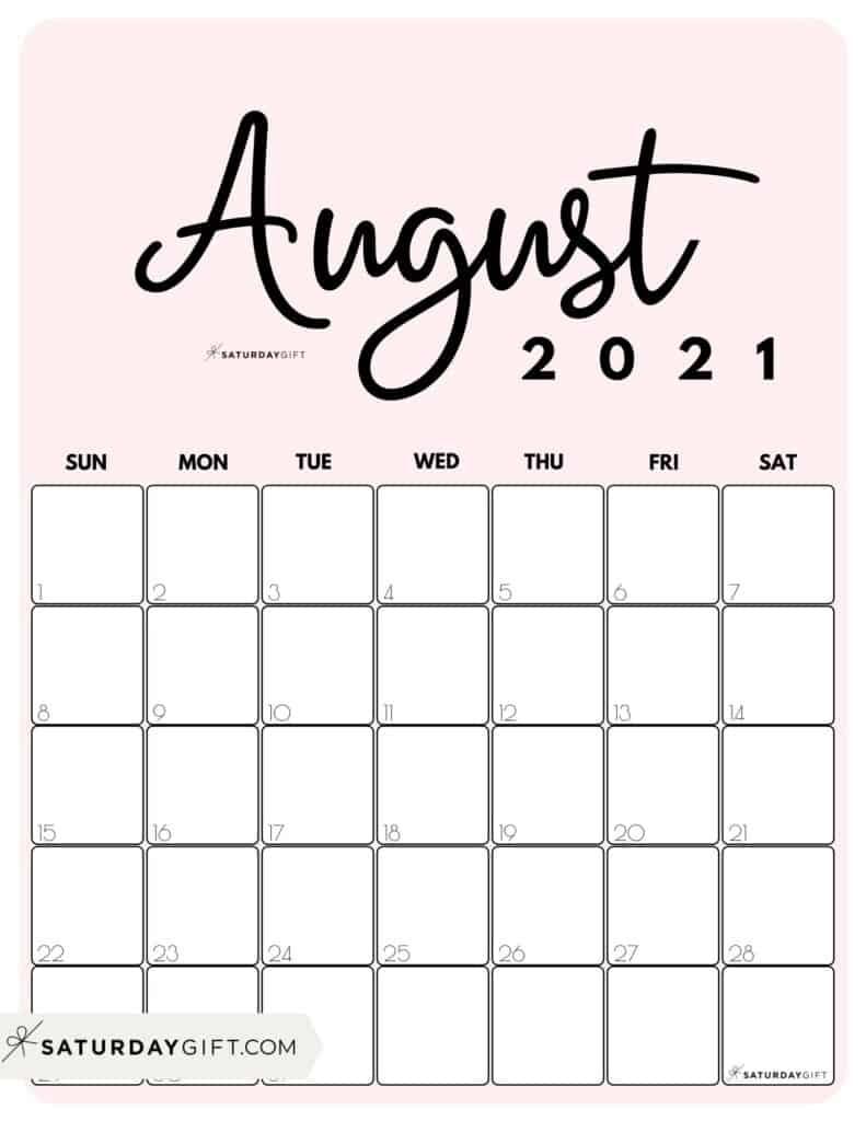 Pick August To December Calendar Template 2021