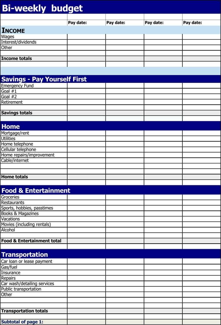Pick Bi Weekly Bill Payment Worksheet