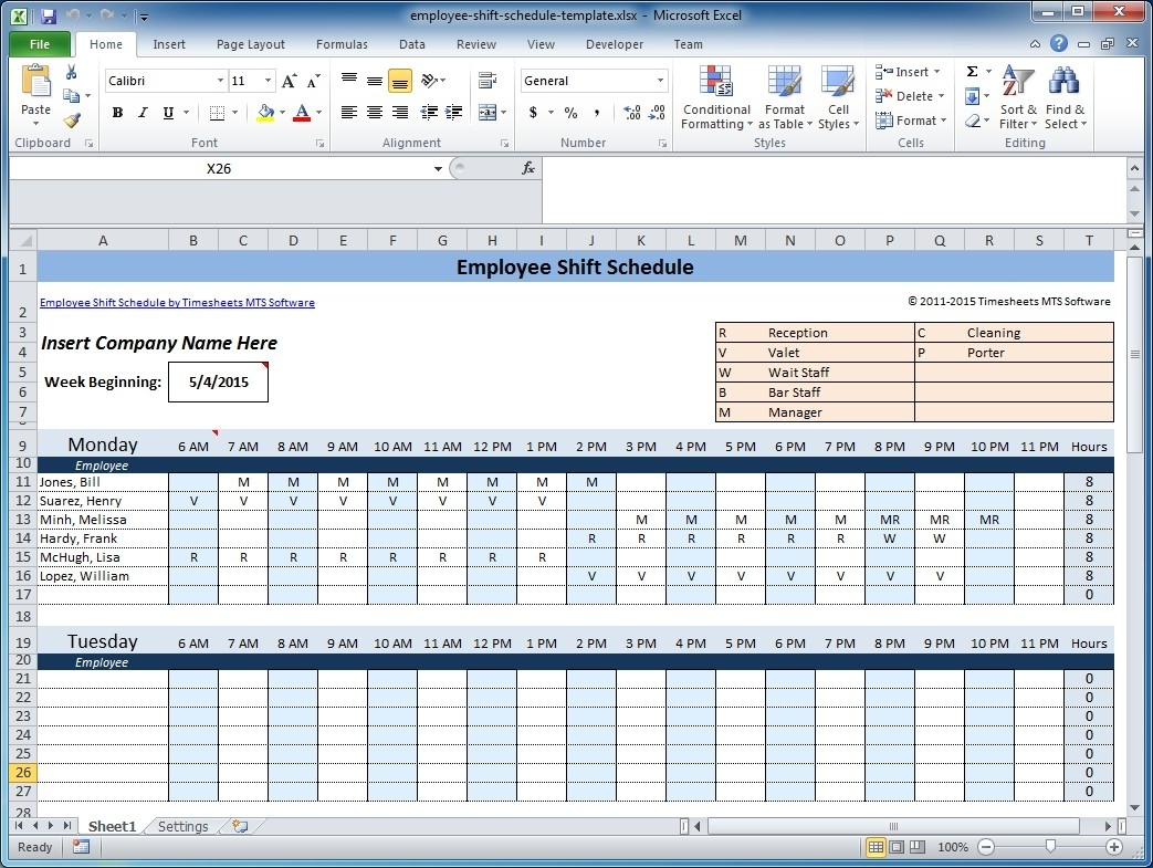 Pick Bi Weekly Work Schedule Template For Excel