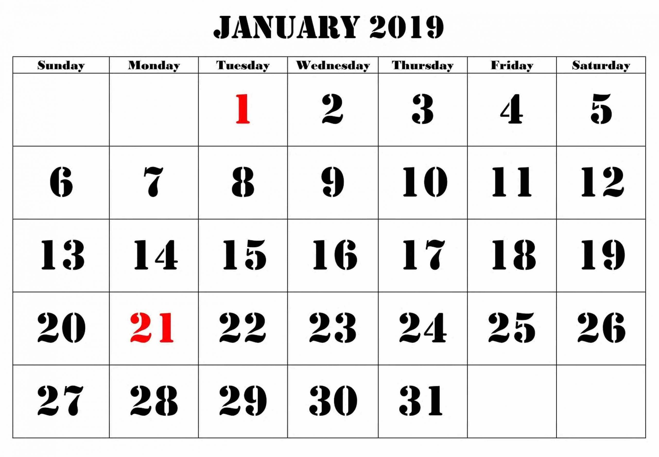 Pick Big Number Printable Calendar