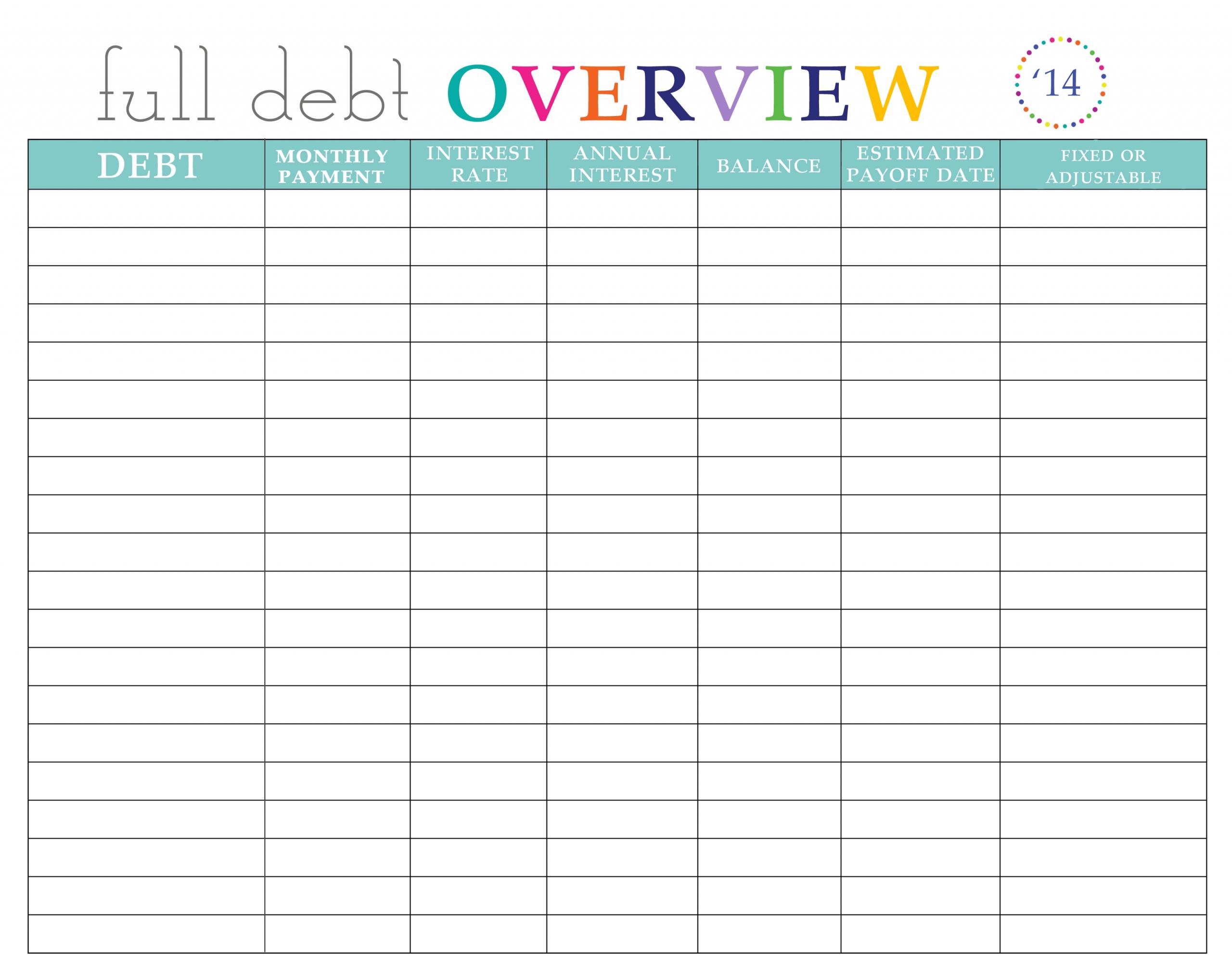 Pick Bill Paying Worksheet