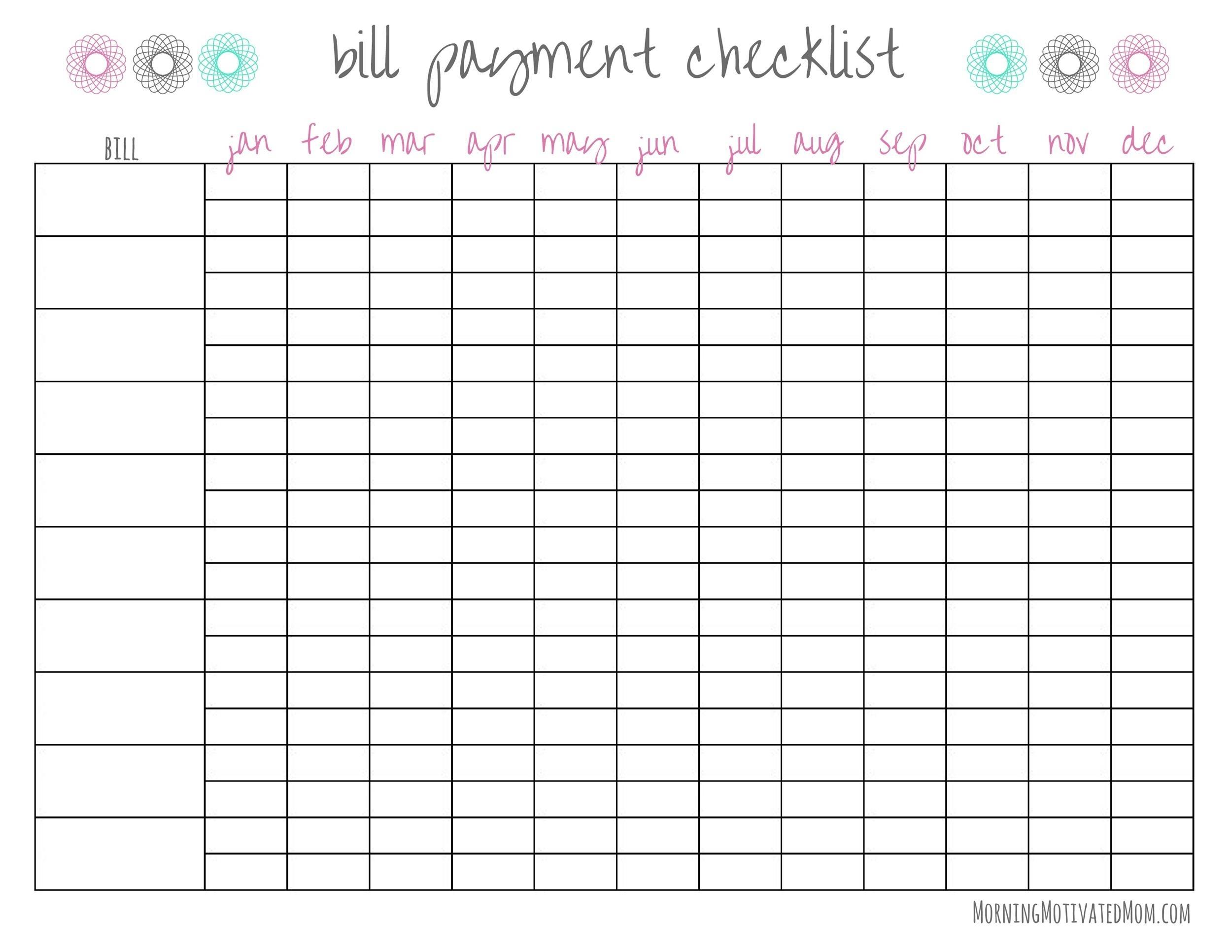 Pick Bill Payment Worksheet Printable