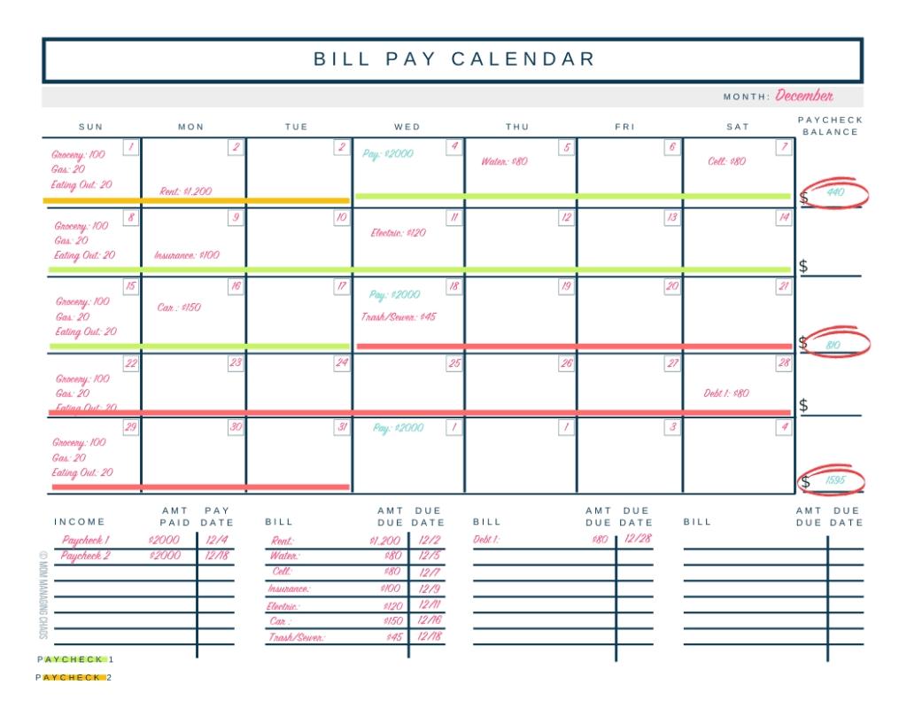 Pick Bills Due Datews Organizer
