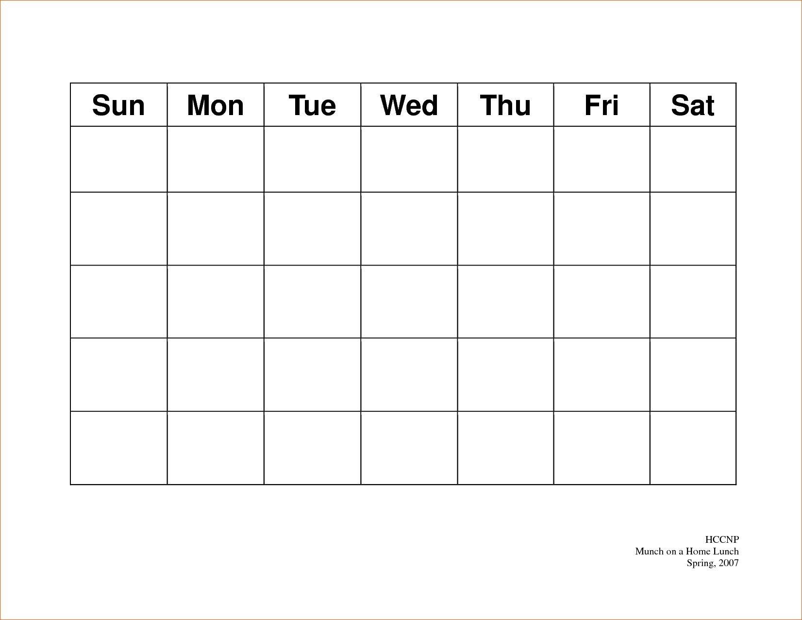 Pick Blank 5 Day Calendar