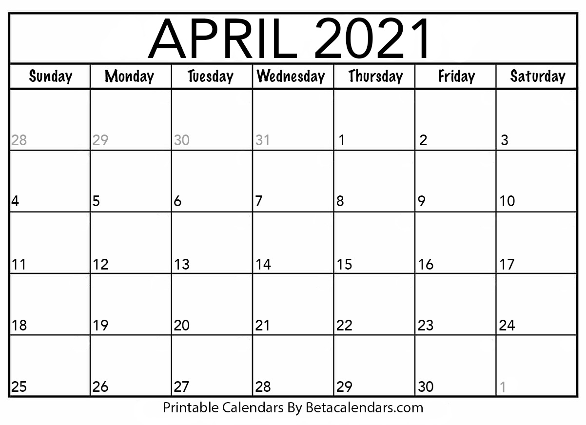 Pick Blank April 2021 Calendar Printable