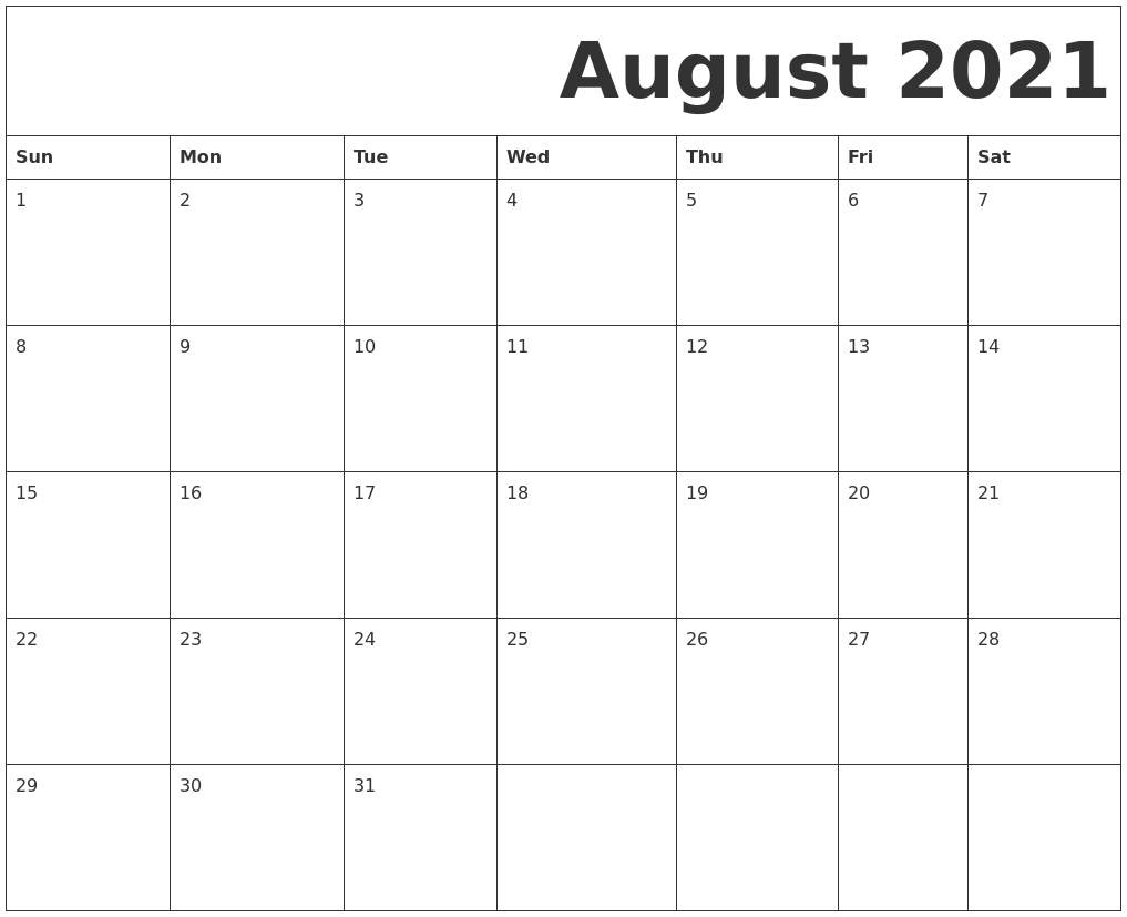 Pick Blank August 2021 Calendar Printable