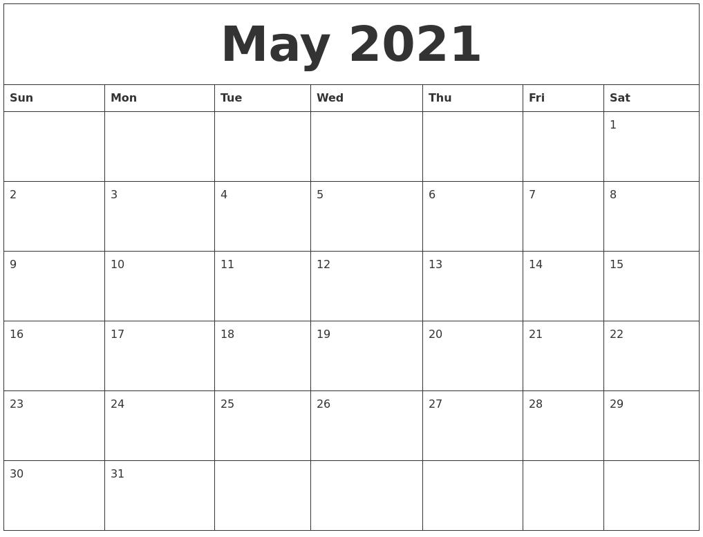 Pick Blank Calendar 2021 Printable Monthly