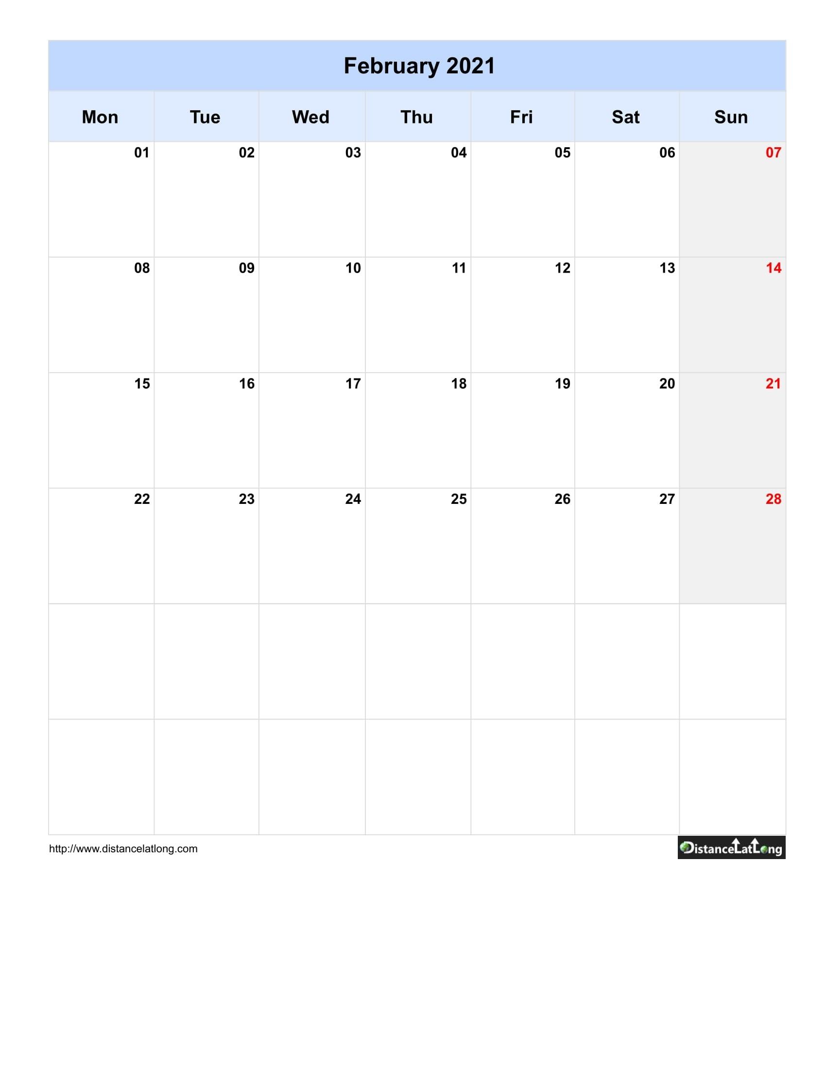 Pick Blank Calendar 2021Monday To Sunday