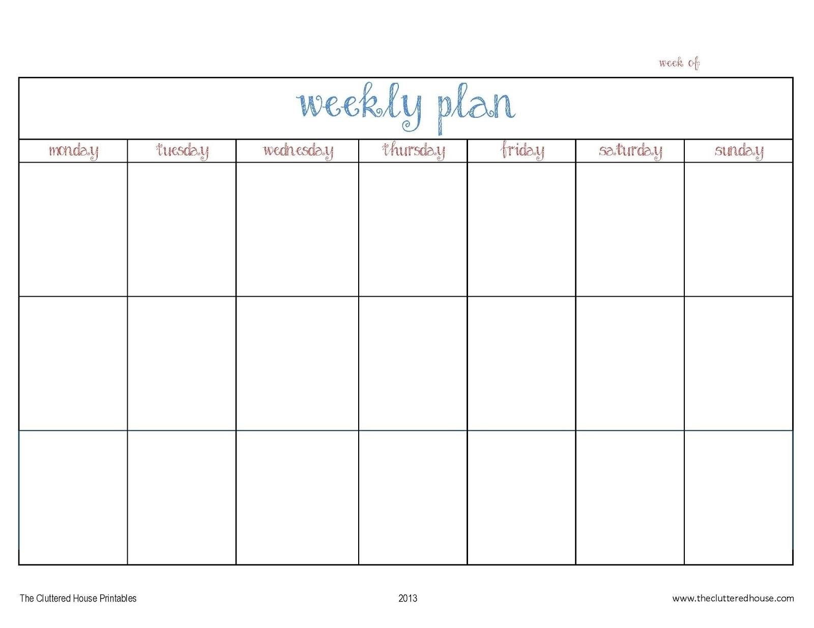 Pick Blank Calender Monday Through Friday