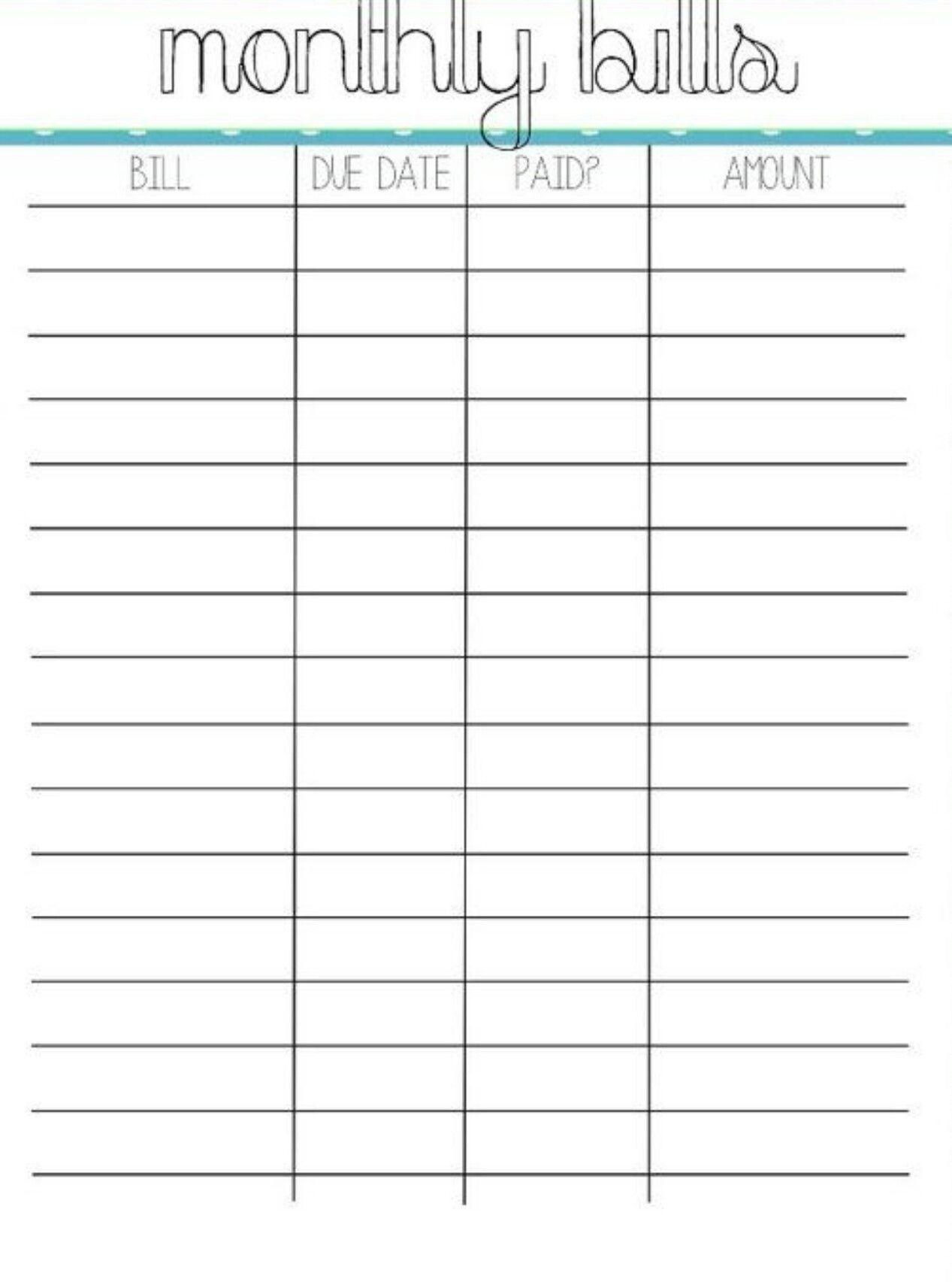 Pick Blank Chart For Monthly Bills