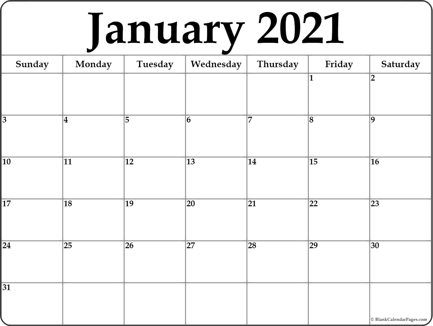 Pick Blank Fillable Monthly Calendar 2021