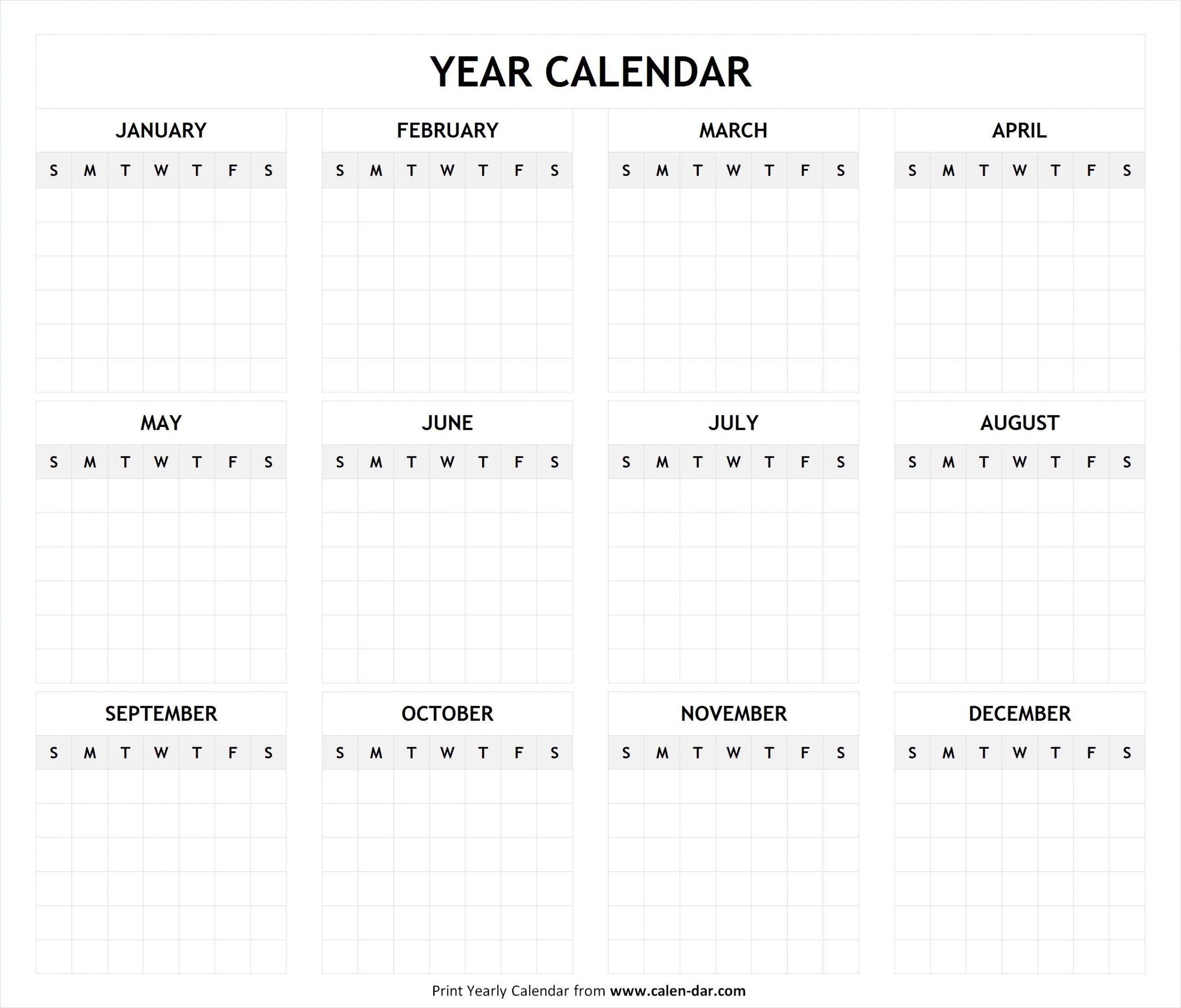 Pick Blank Full Year Calendar
