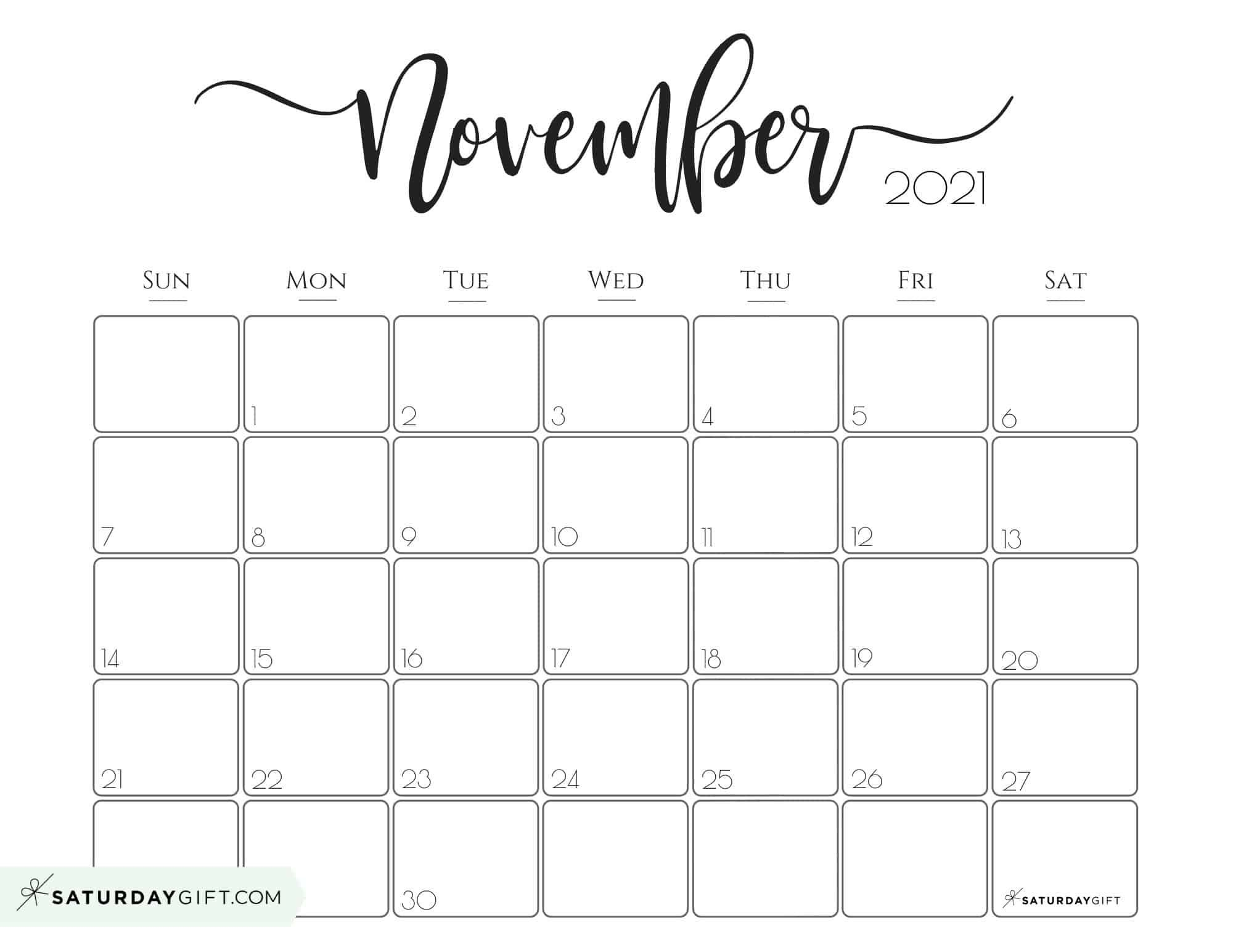 Pick Blank Horizontal November Calendar