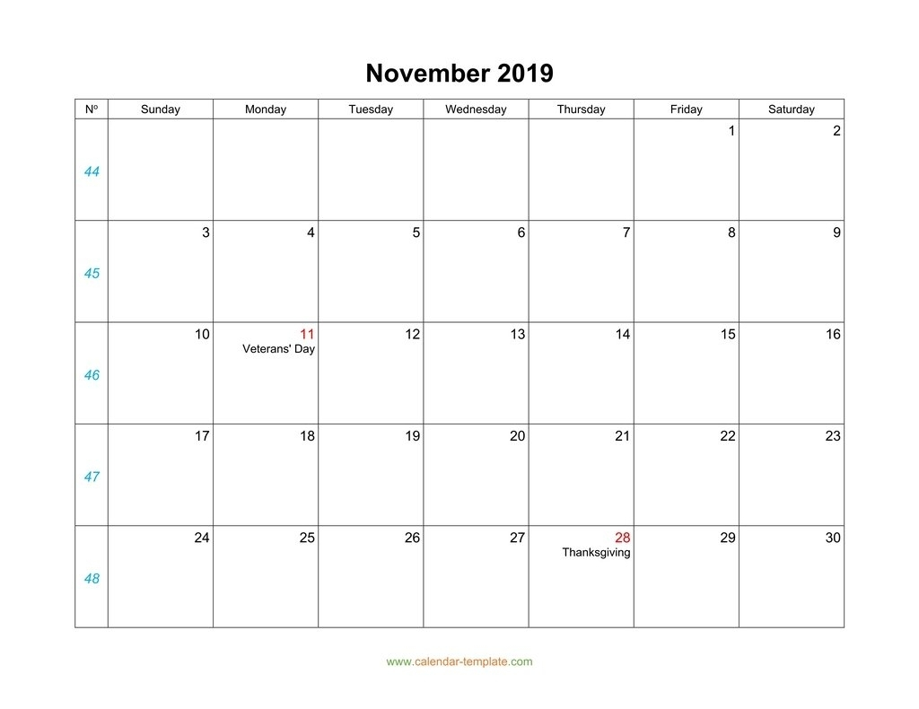 Pick Blank Horizontal November Calendar