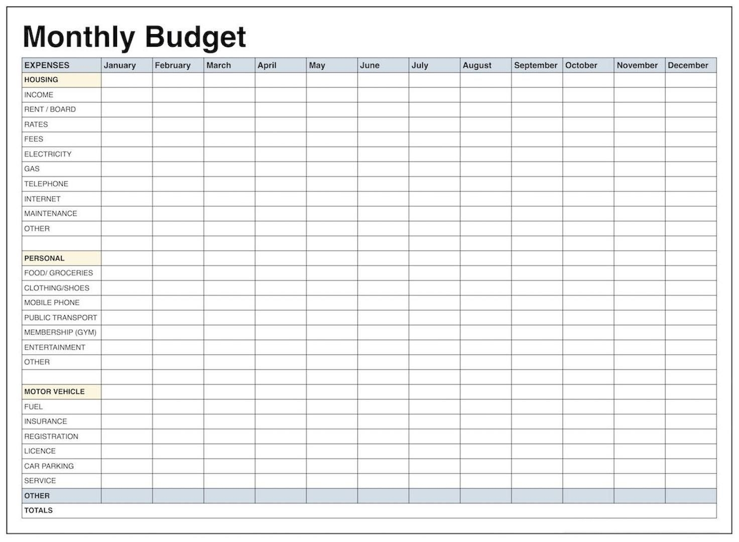 Pick Blank Printable Monthly Bills Worksheet