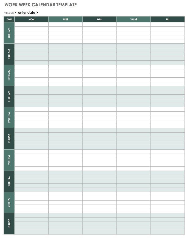 Pick Blank Work Week Calendar Printable