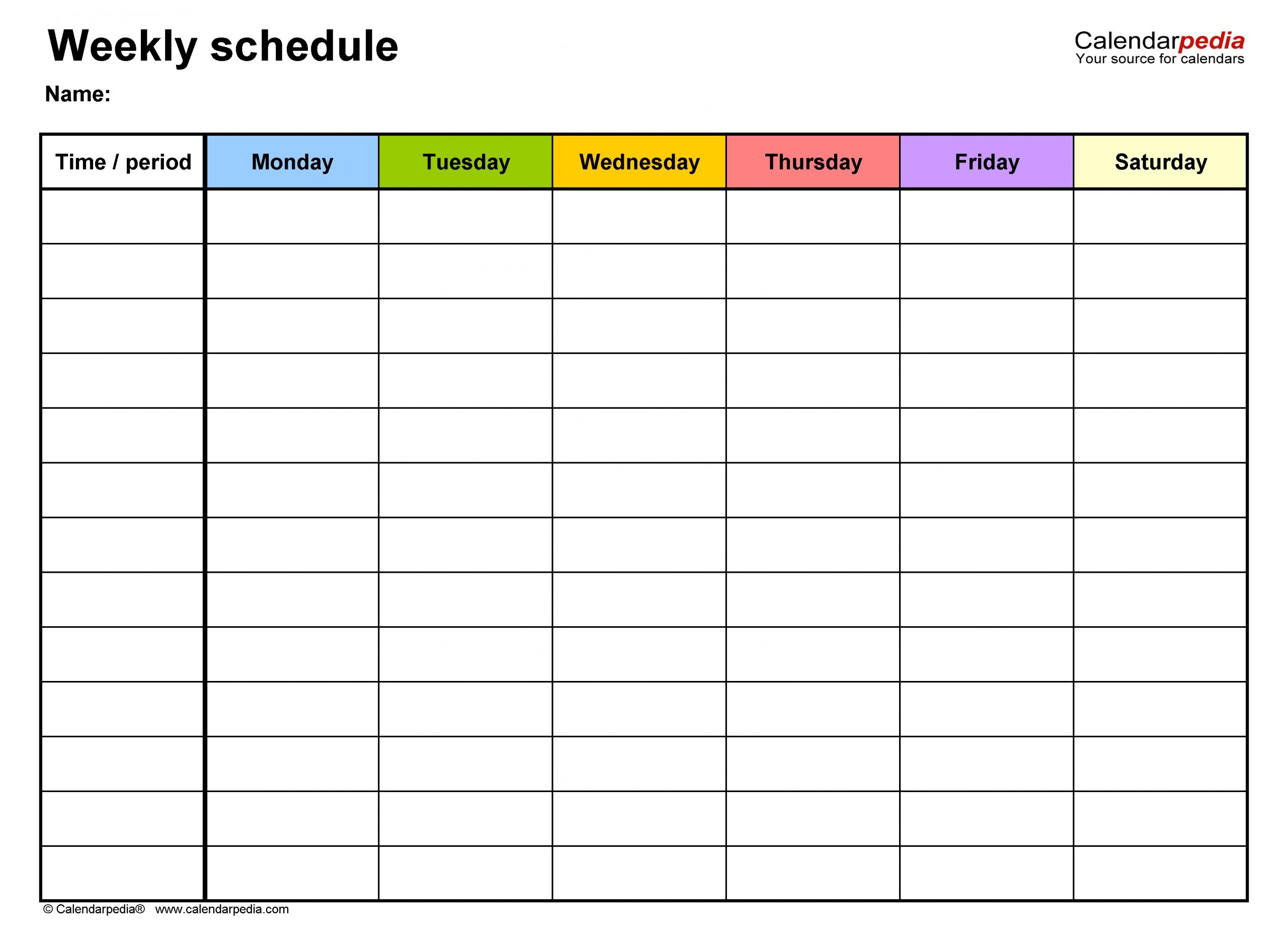 Pick Blank Work Week Calendar