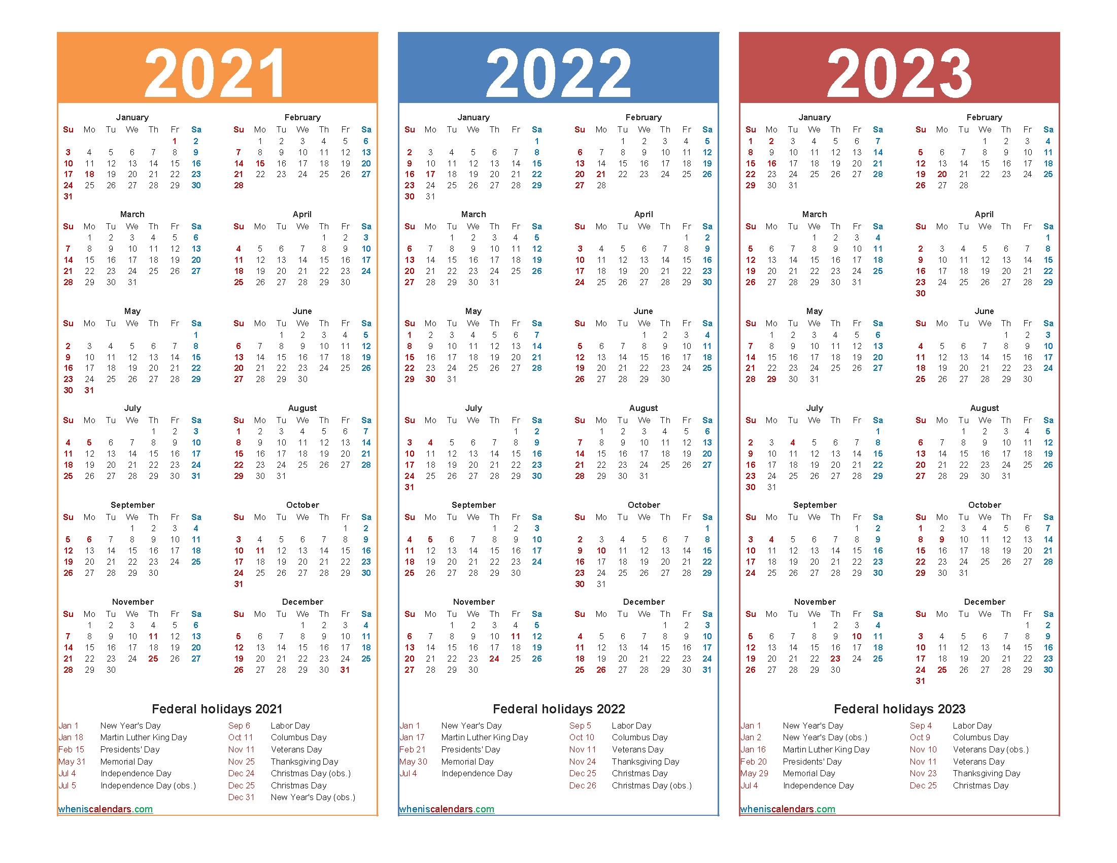 Pick Calander 2021 Thru 2023