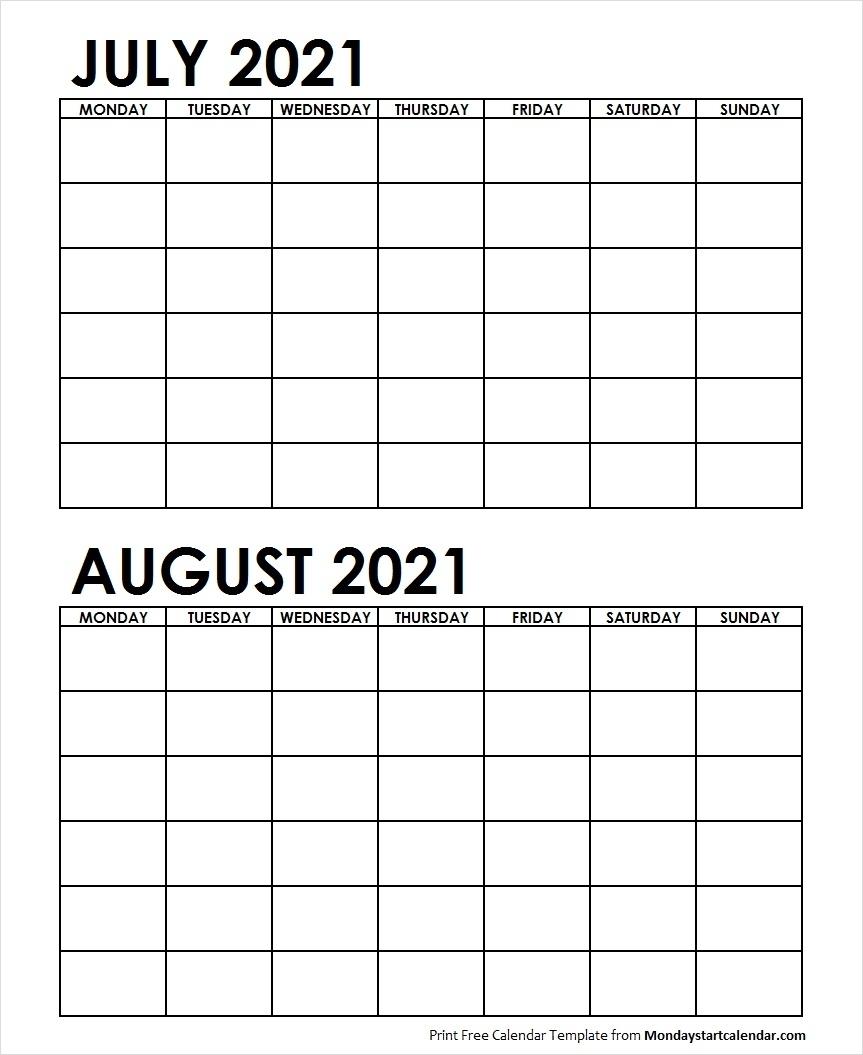 Pick Calander Template Monday Sunday August 2021