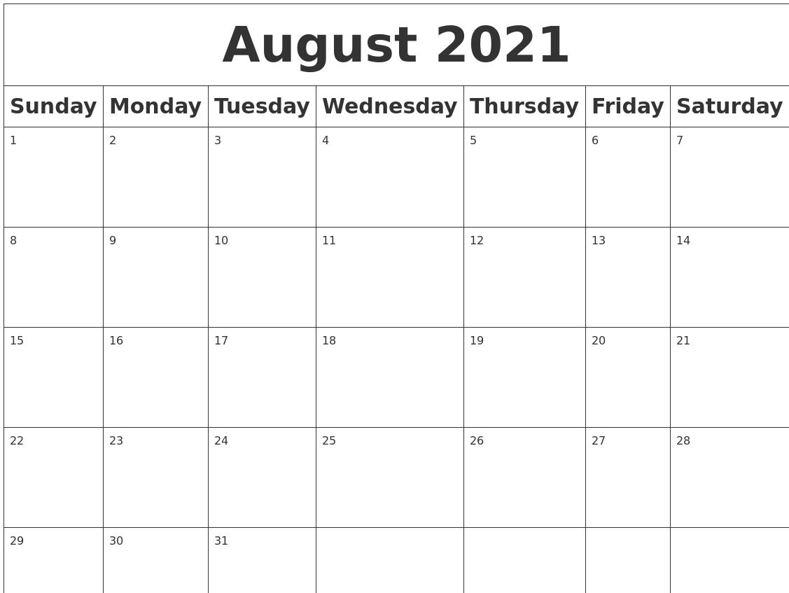 Pick Calendar 2021 August September October