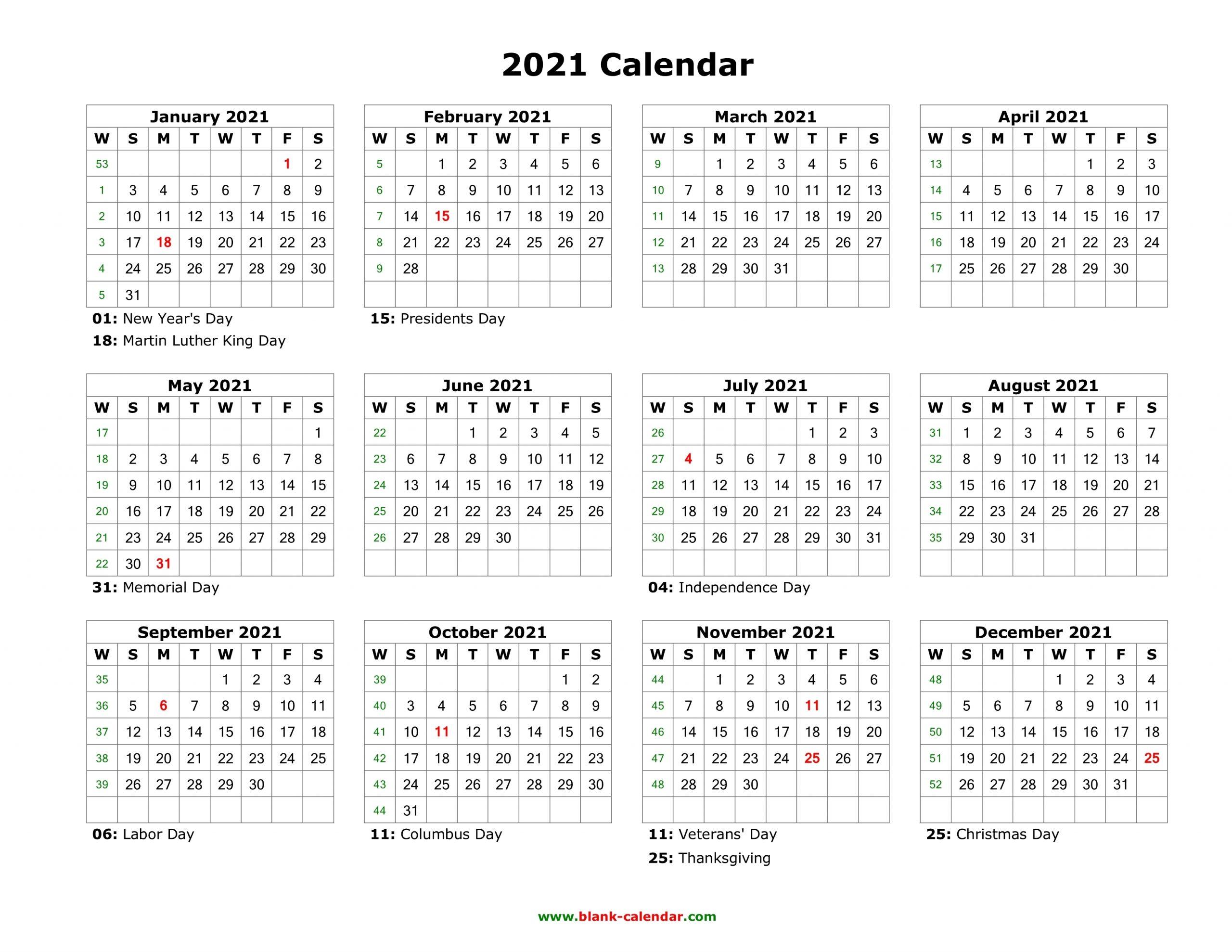 Pick Calendar 2021 Monday Thru Sunday