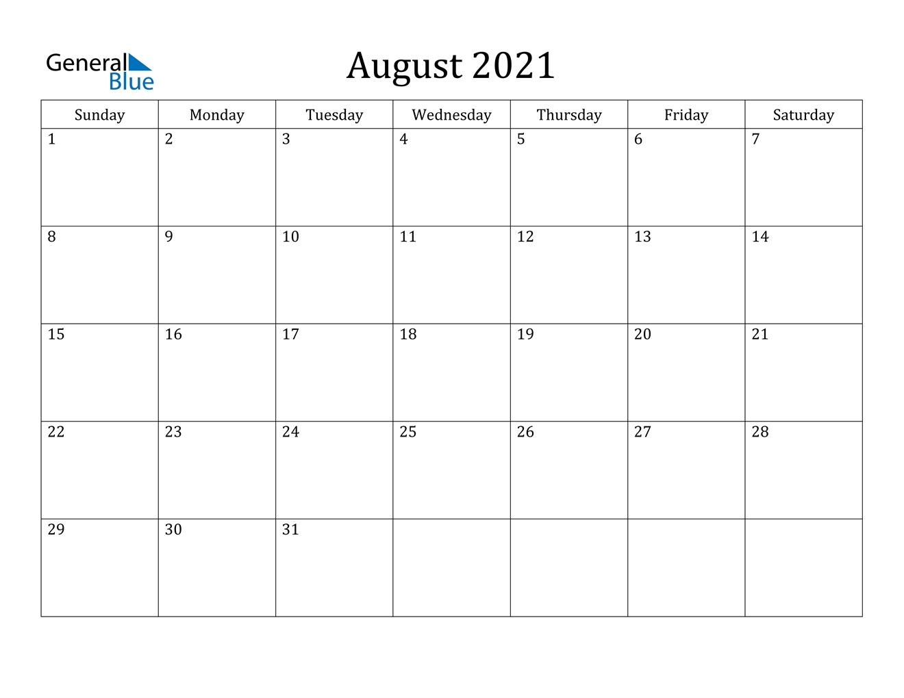 Pick Calendar August 2021