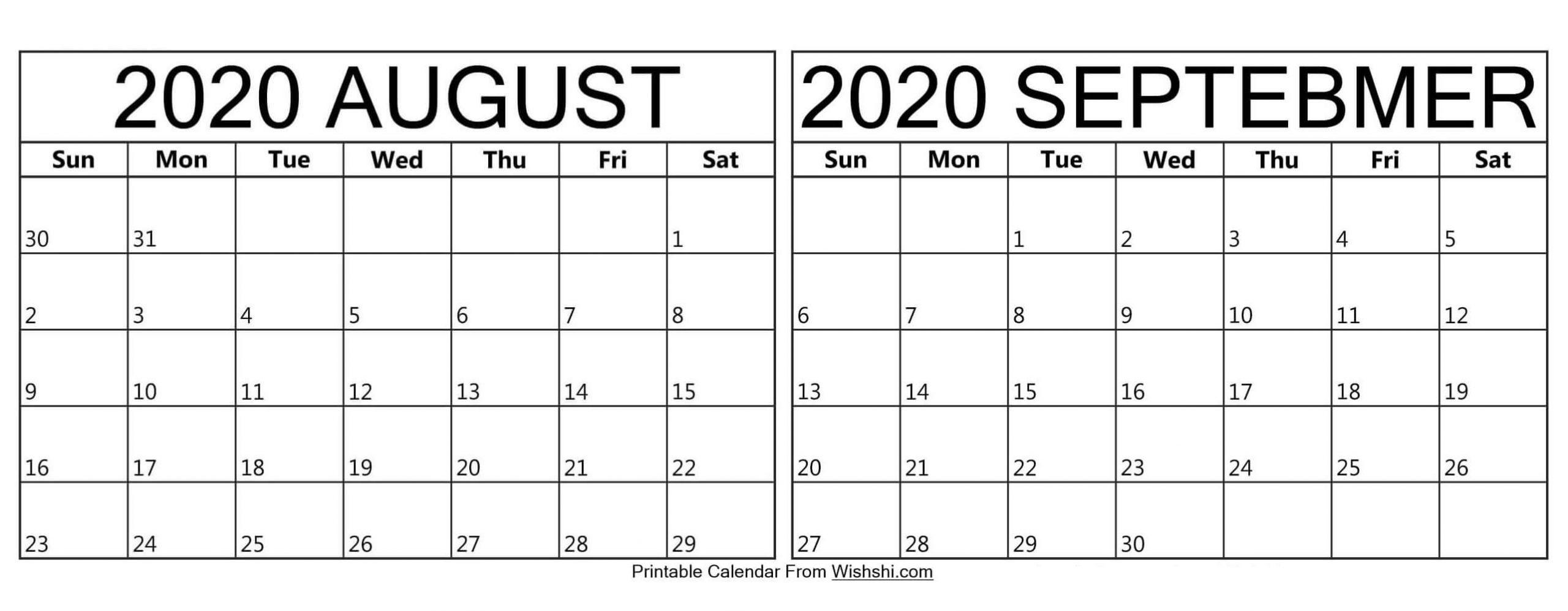 Pick Calendar For August And September