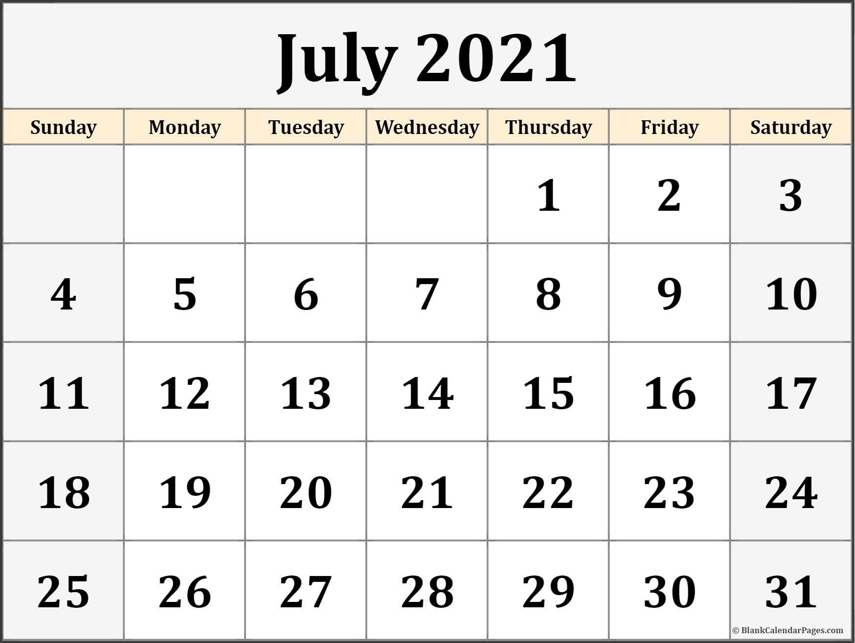 Pick Calendar For June And July 2021