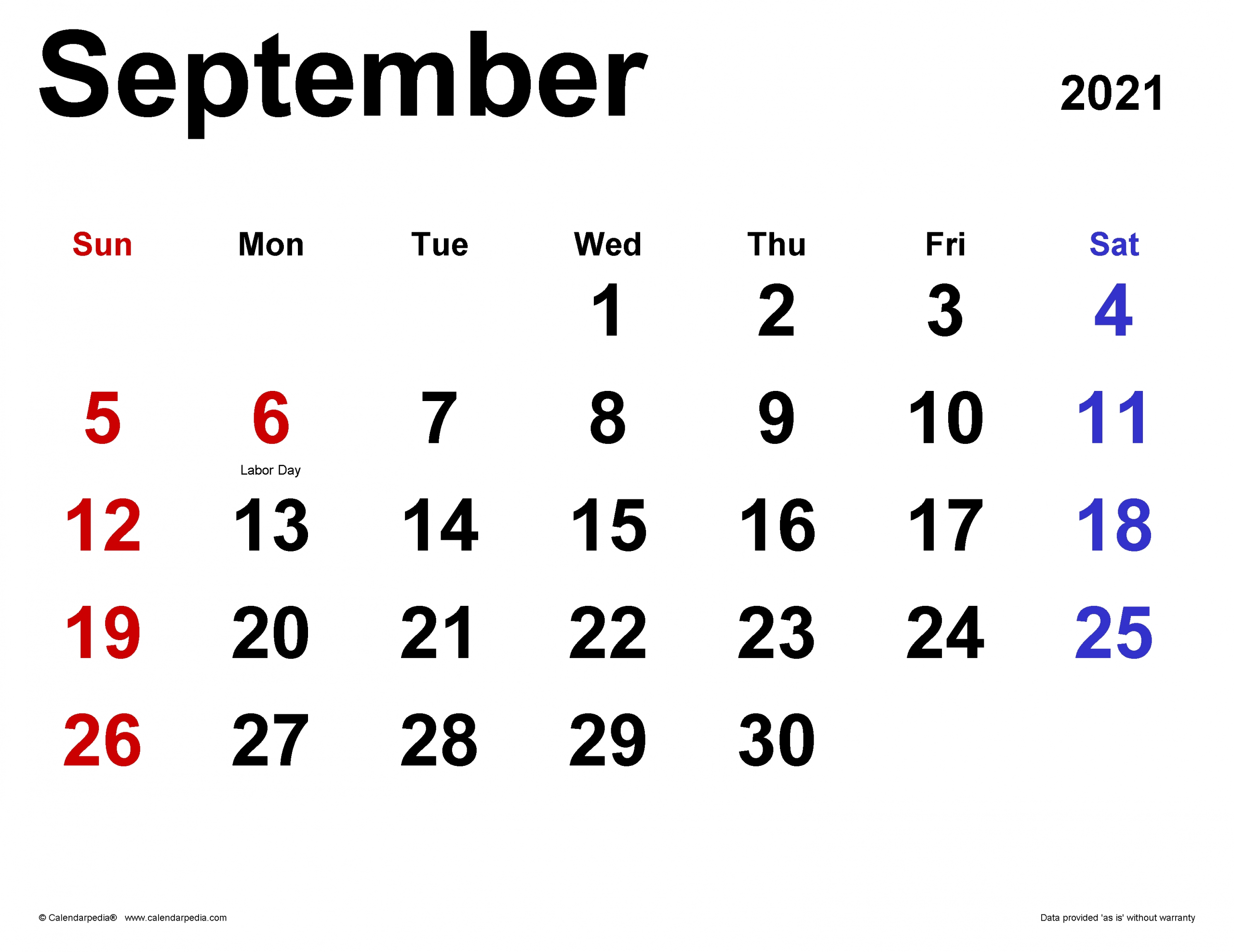 Pick Calendar For September 2021 With Large Numbers