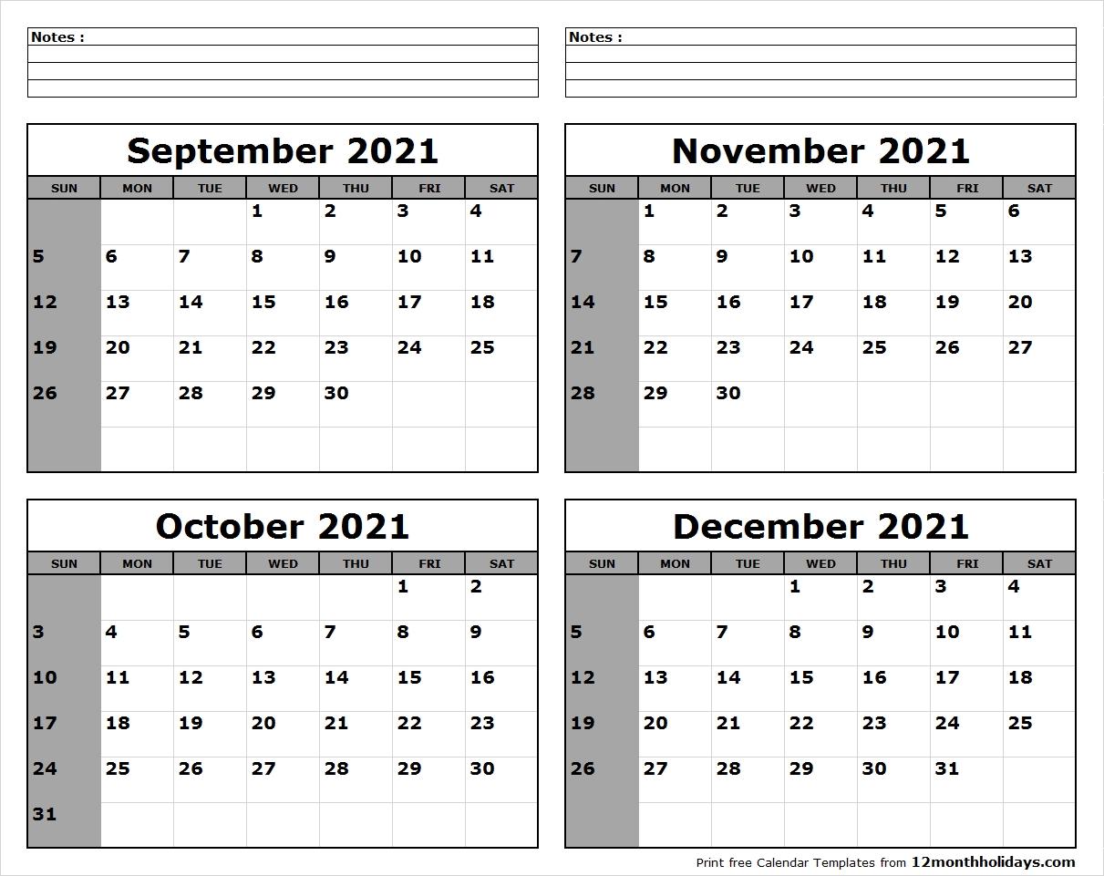 Pick Calendar November – December 2021