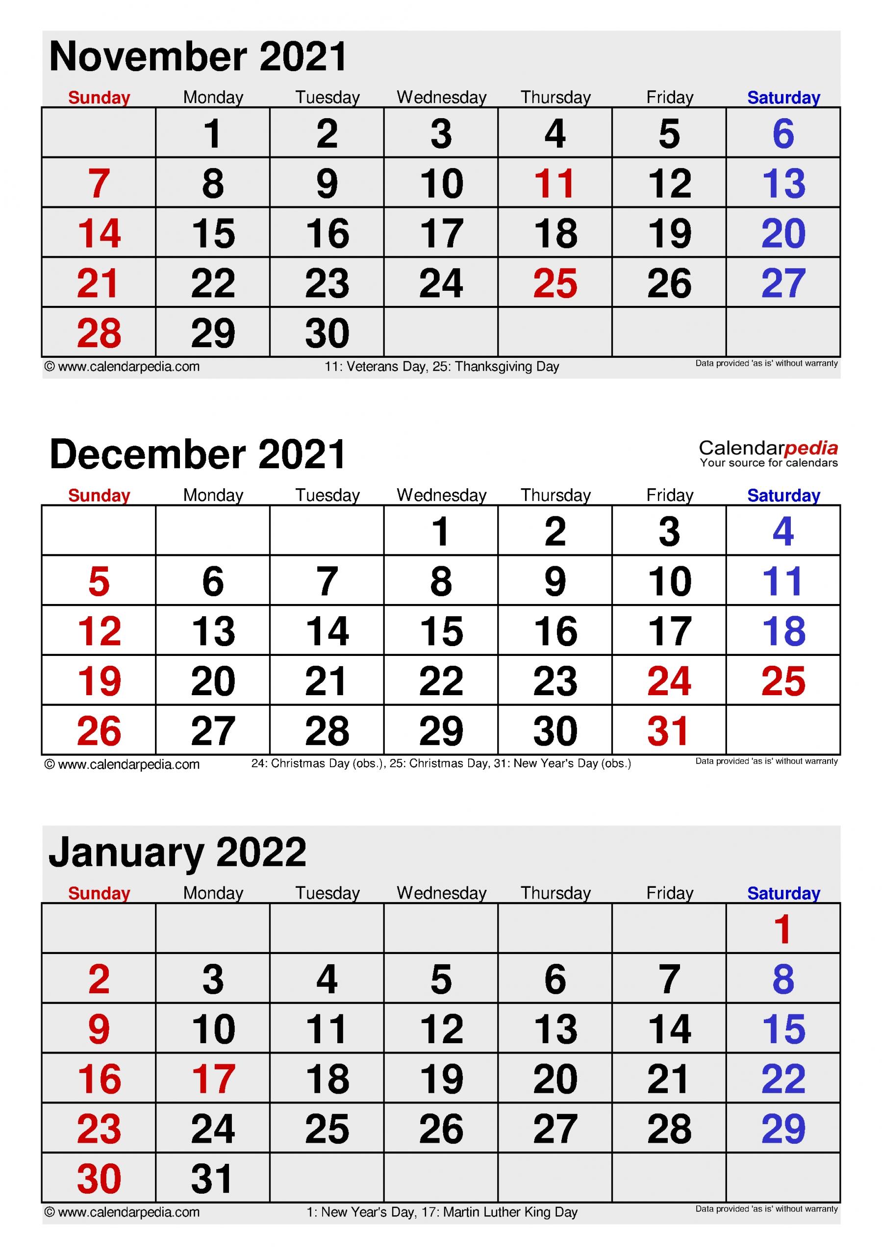 Pick Calendars For November And December 2021
