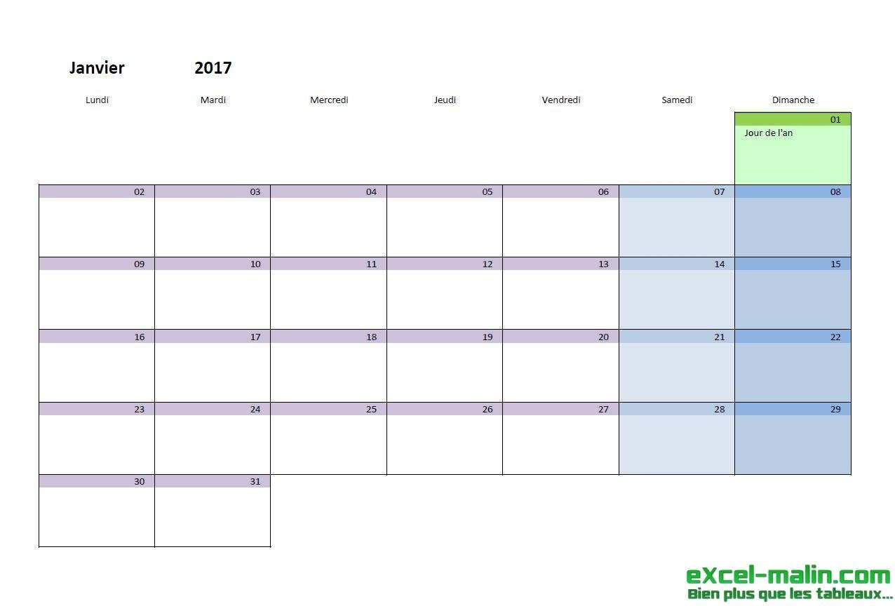 Pick Calendrier Mois Excel