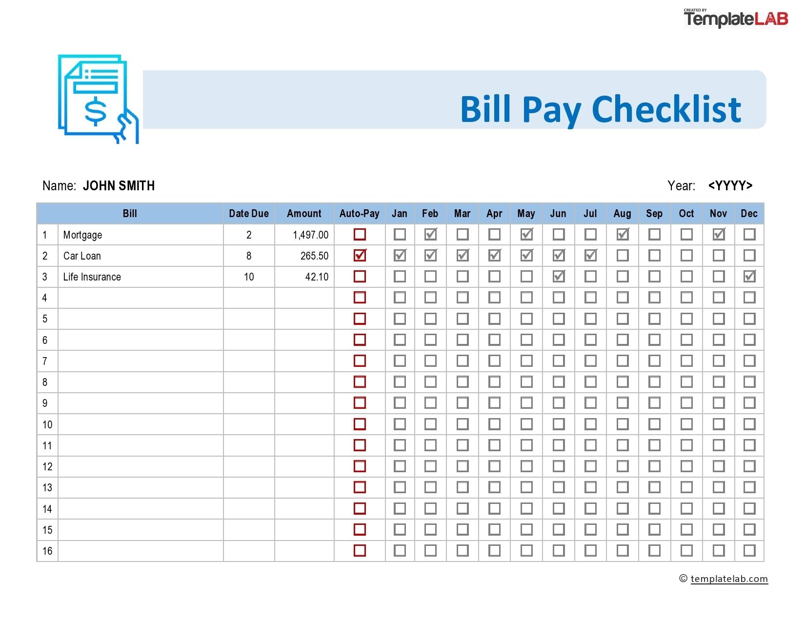 Pick Check List Of Bills Due