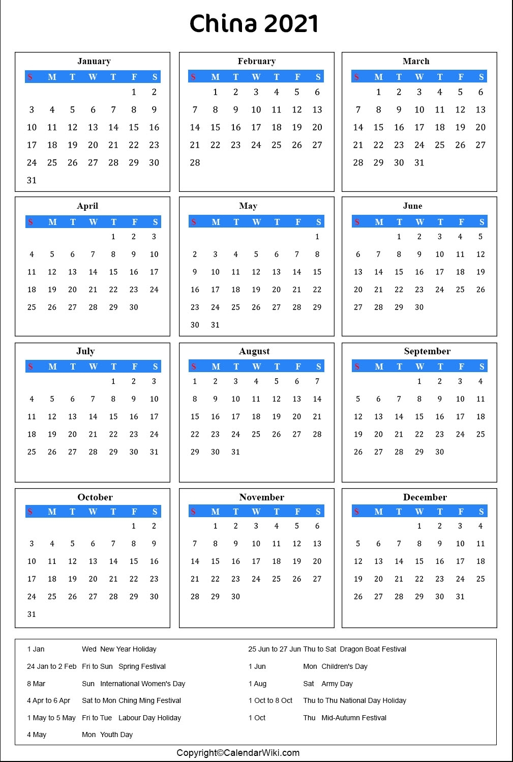 Pick China Holiday Calendar 2021